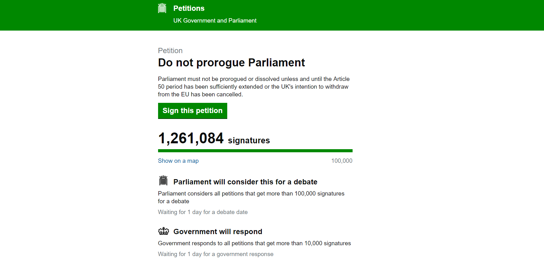 Petition calling for the Government not to suspend Parliament