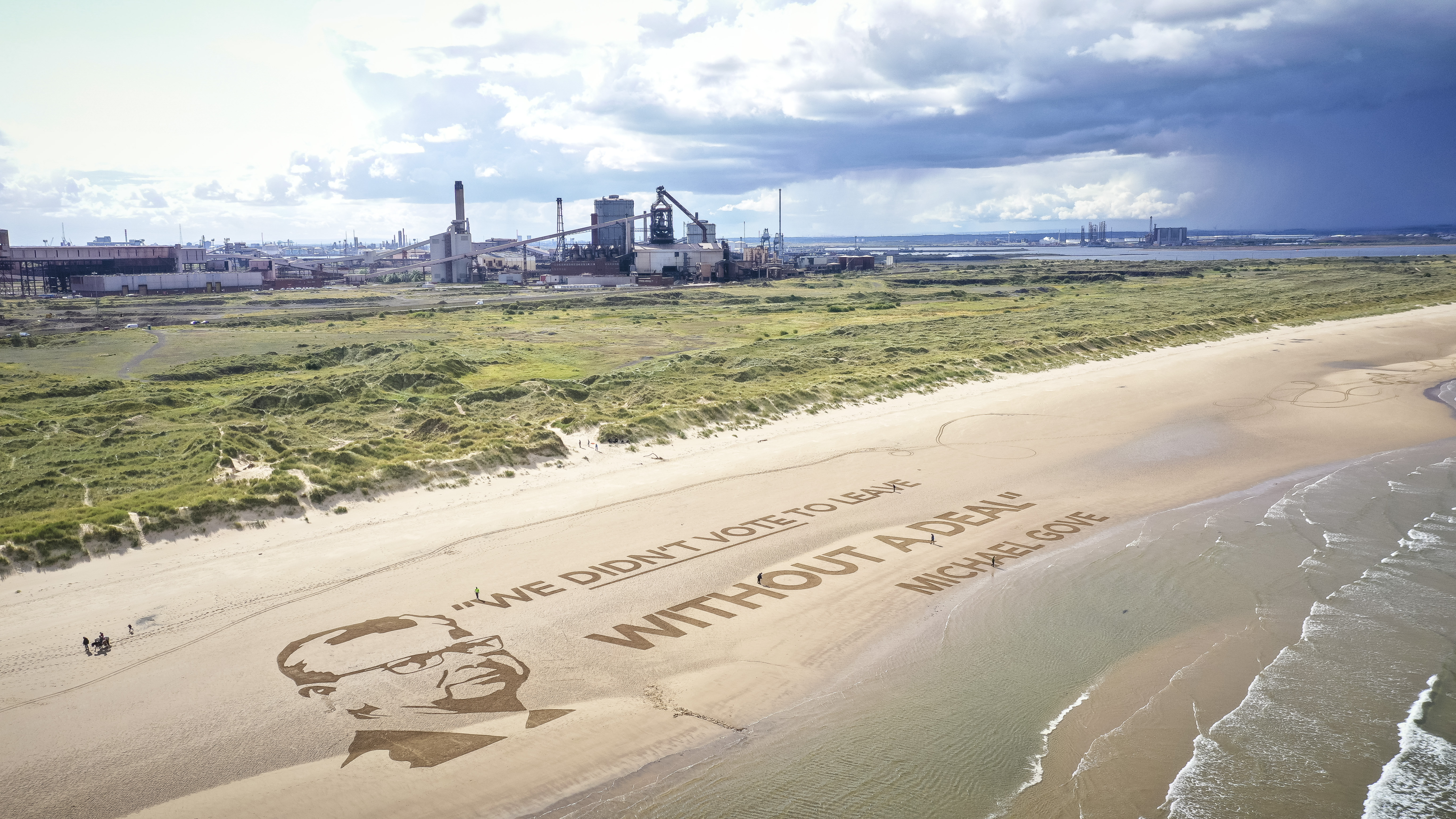 The installation on Redcar beach
