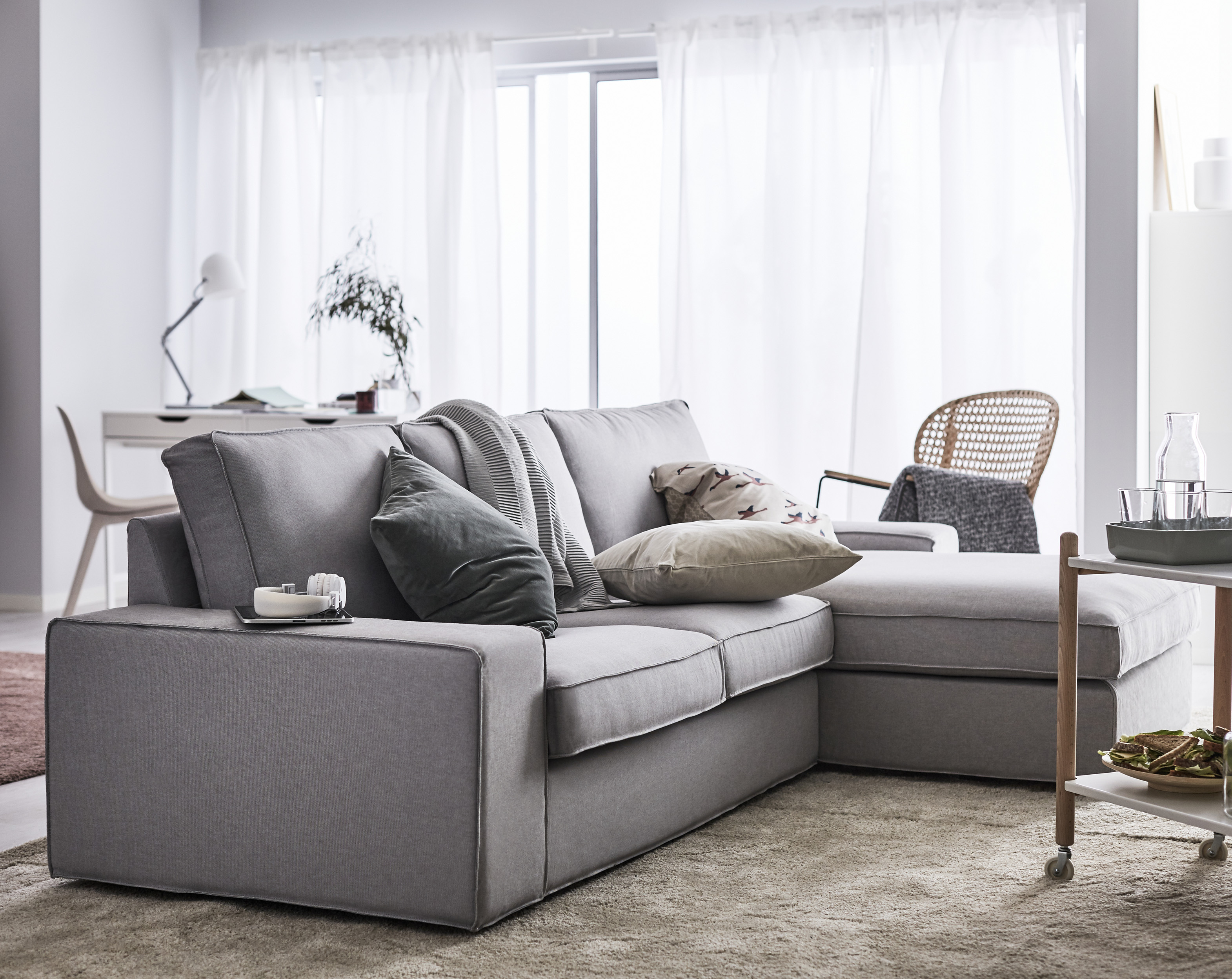 Kivik 3-seater sofa, with chaise longue, in Hillared anthracite, £740, has a memory foam filling and cotton for the cover comes from a sustainable source, Ikea (Ikea/PA)