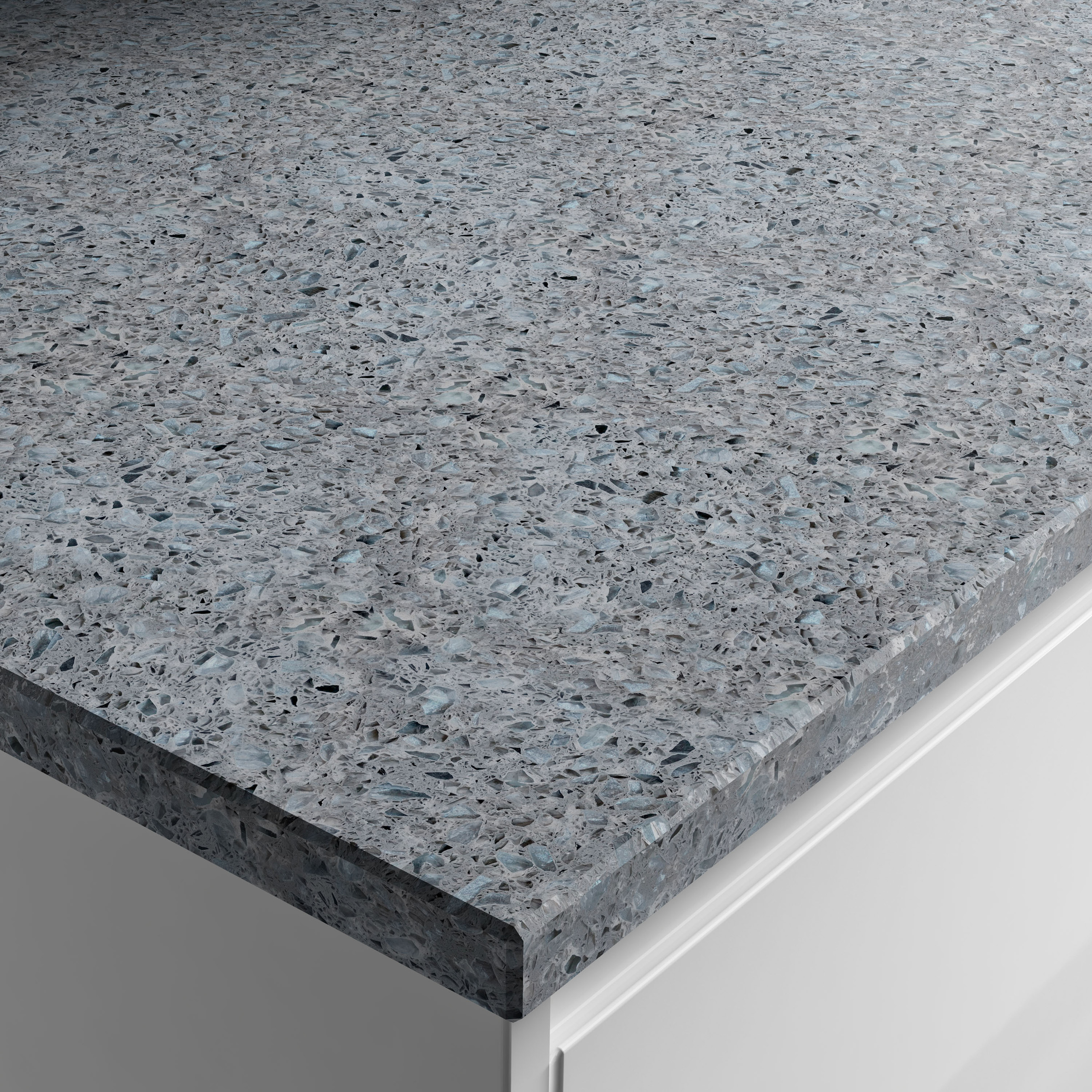 Apollo Recycled Glass Worktop, Blue Star, available with kitchens from Wickes (Wickes/PA)