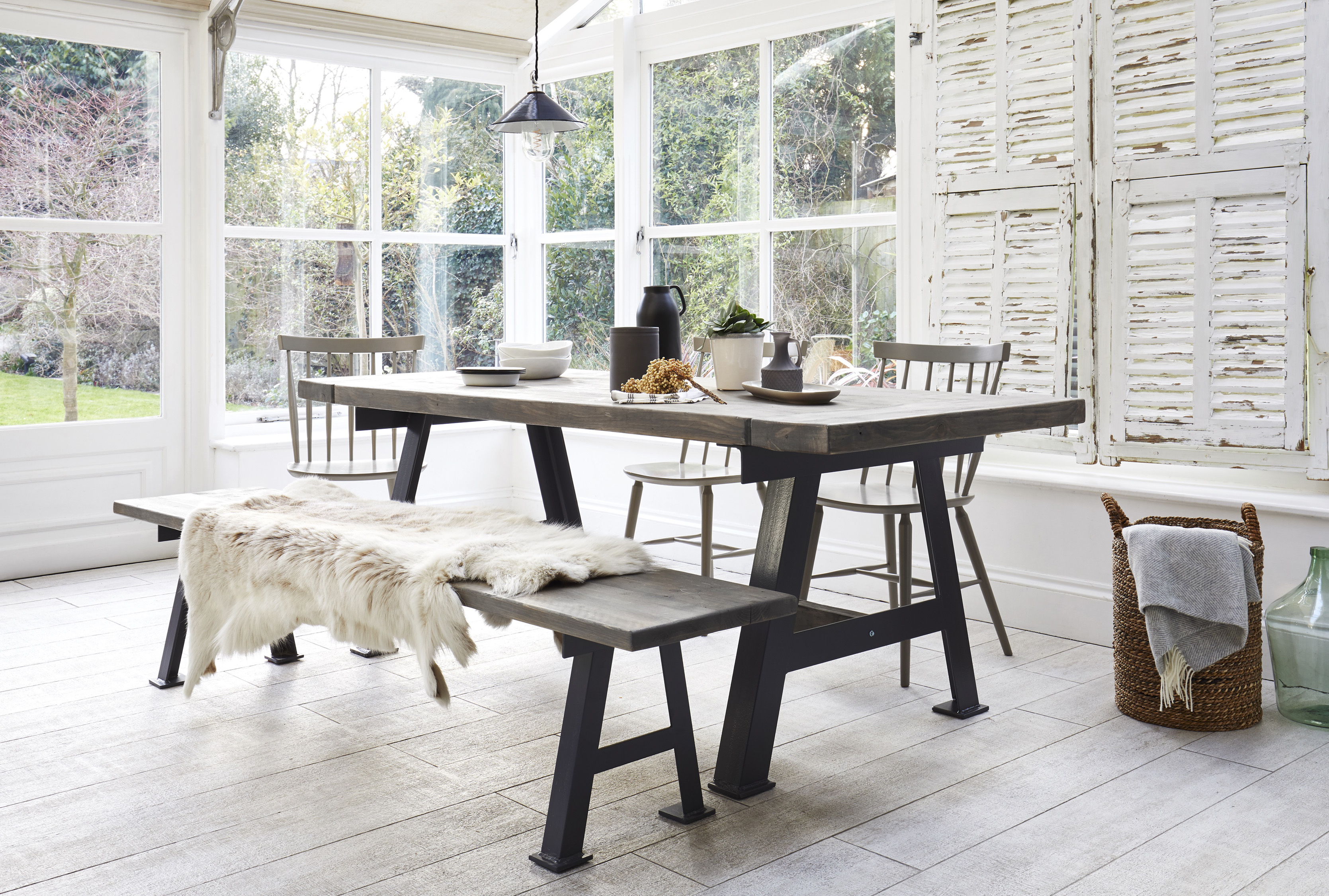 A-Game Reclaimed Dining Table from £1,690.00–£2,010.00; A-Game Reclaimed Bench, from£330.00–£390.00, Rust Collections (Rust Collections/PA)