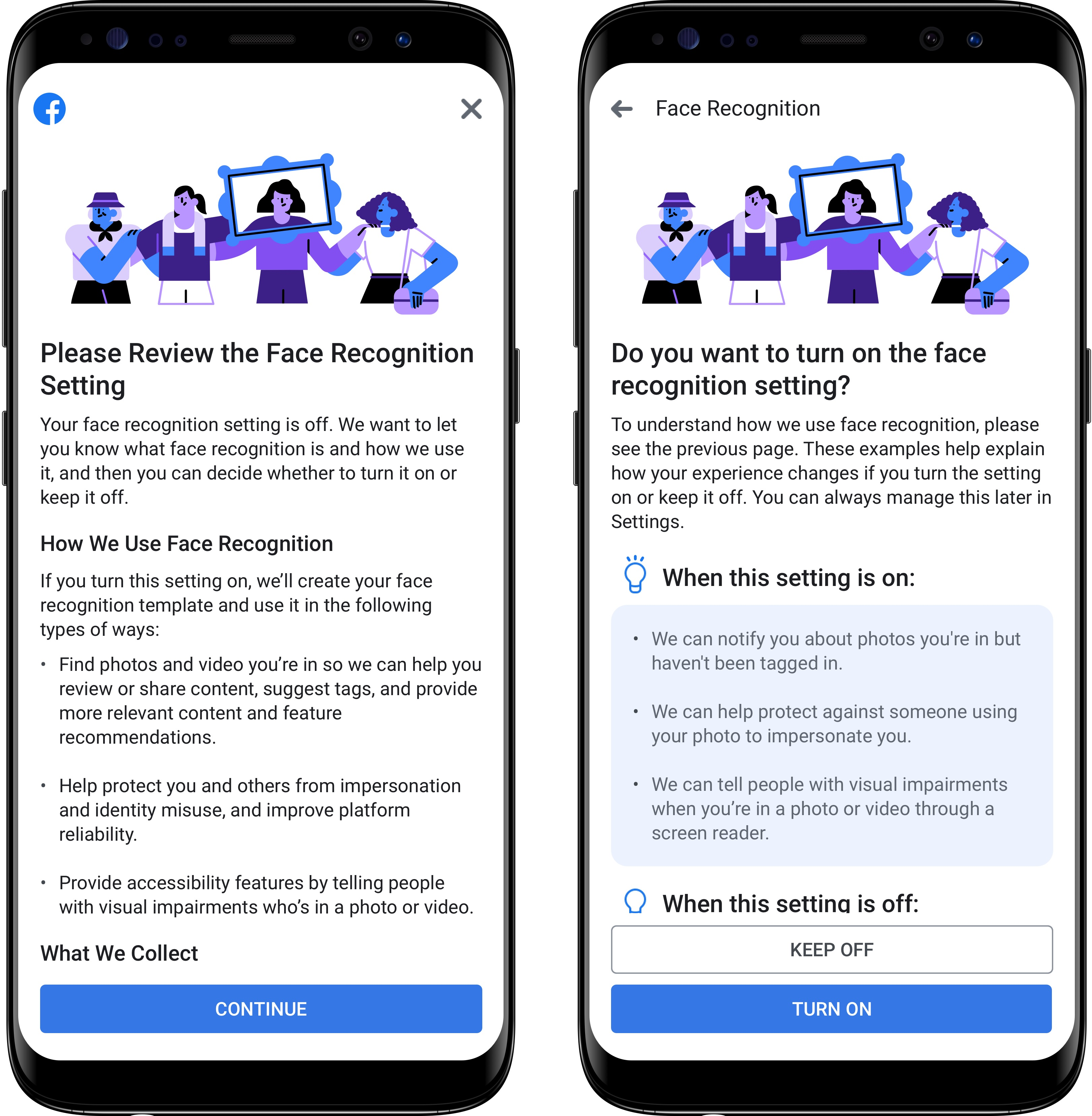 Facebook's face recognition setting review panel