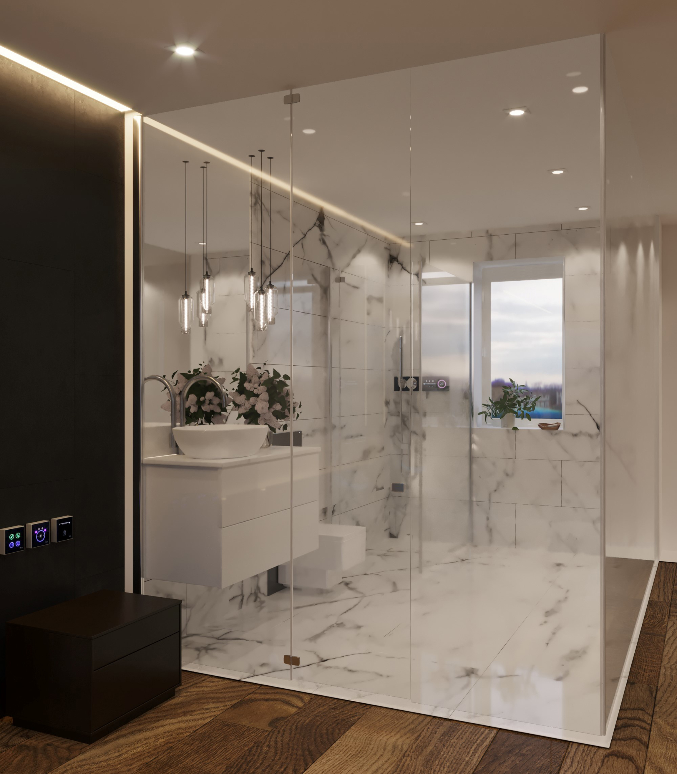 A hotel shower of the future