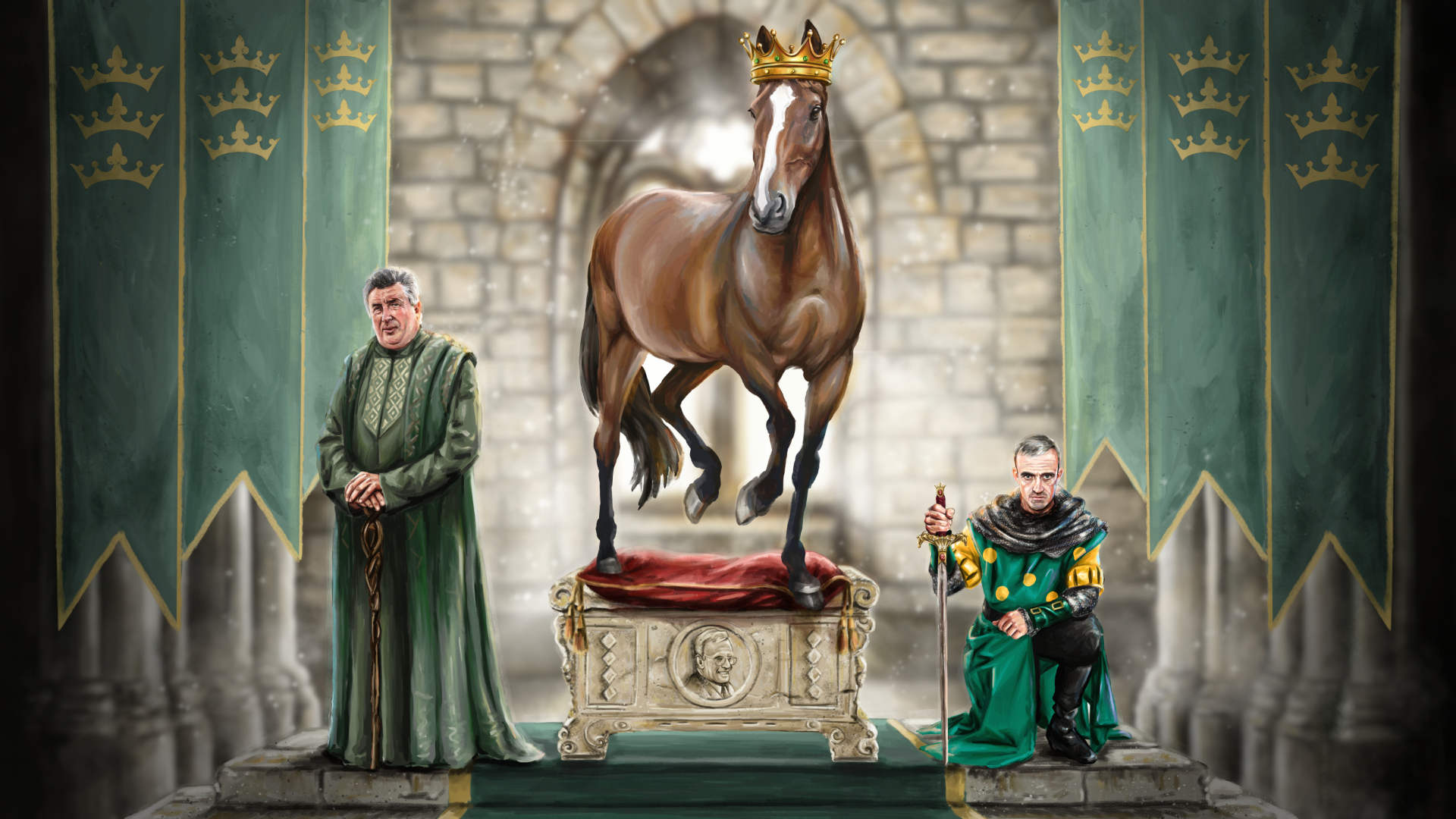 Artist Phil Galloway depicts Kauto Star as having been crowned the King of Jump Racing