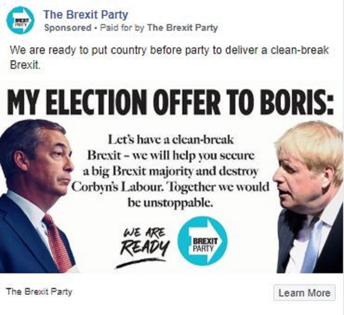 An advert promoted by the Brexit Party