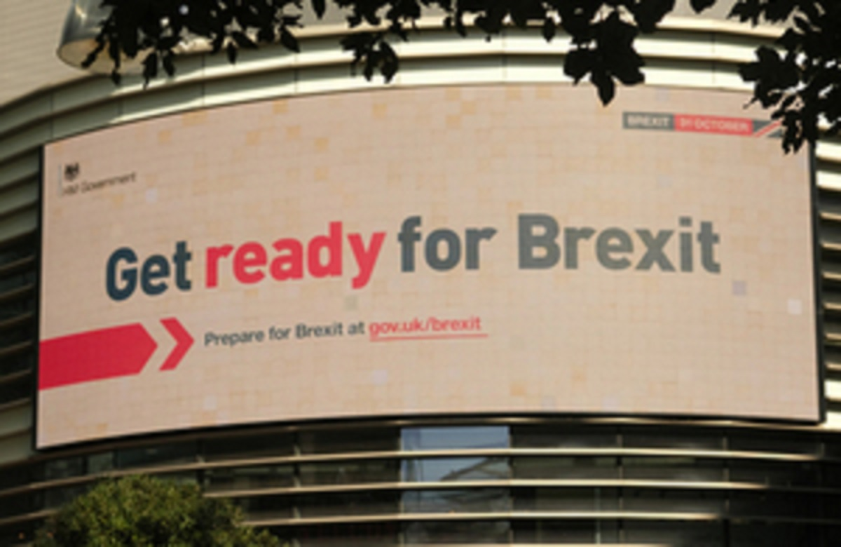 A billboard encouraging people to 'get ready for Brexit'