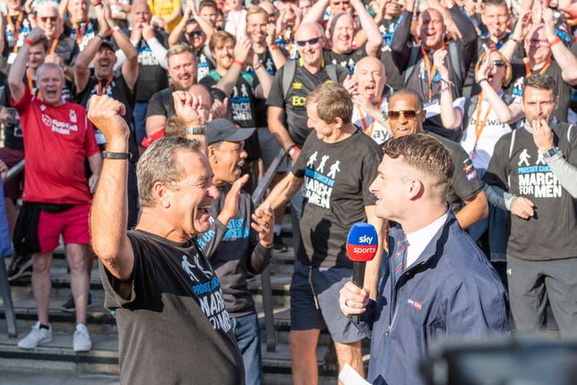 Jeff Stelling celebrates a Prostate Cancer fundraising goal being reached