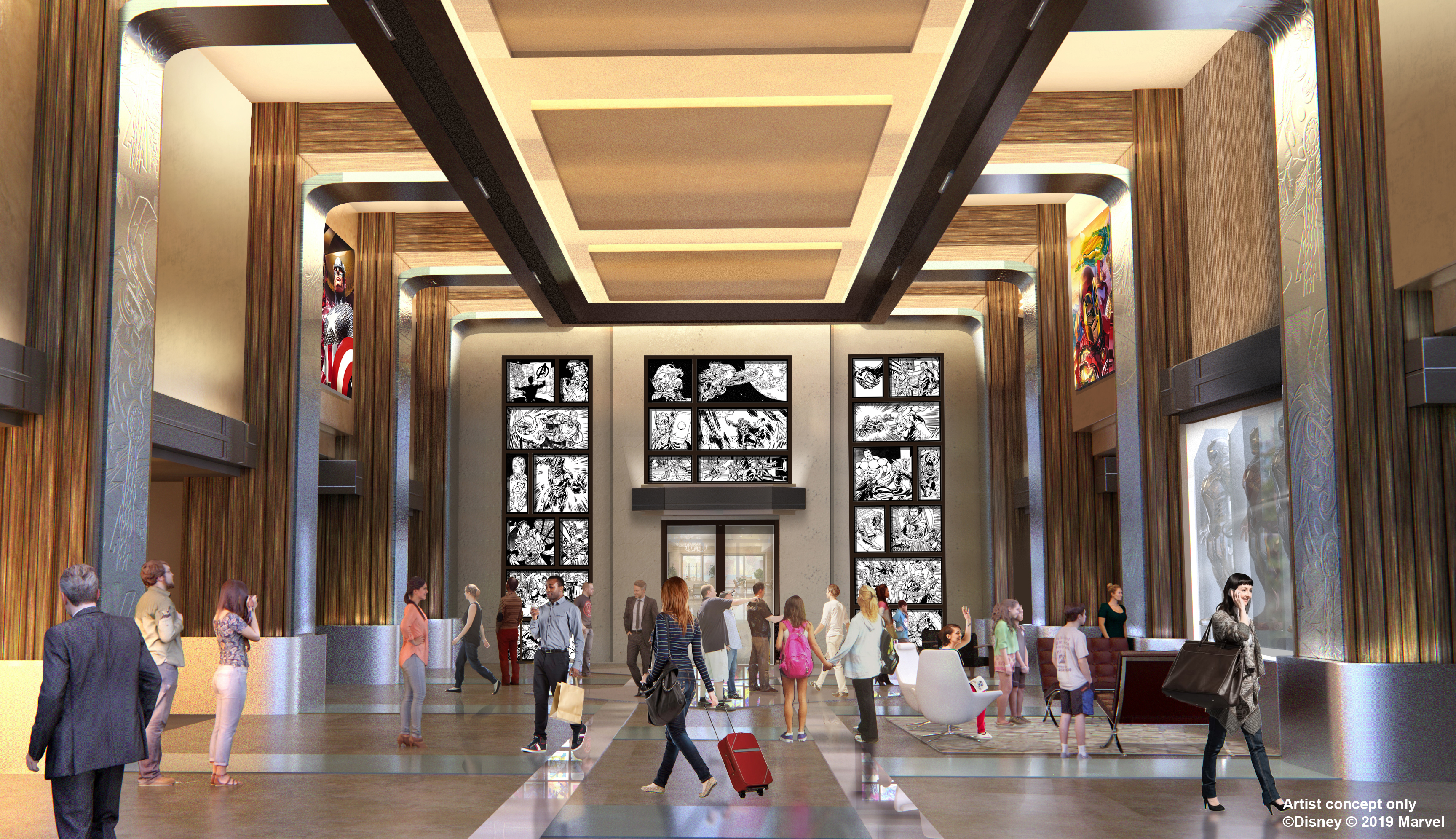 An artist's impression of the lobby of Disney's Hotel New York: The Art Of Marvel (Disney/Marvel/PA)