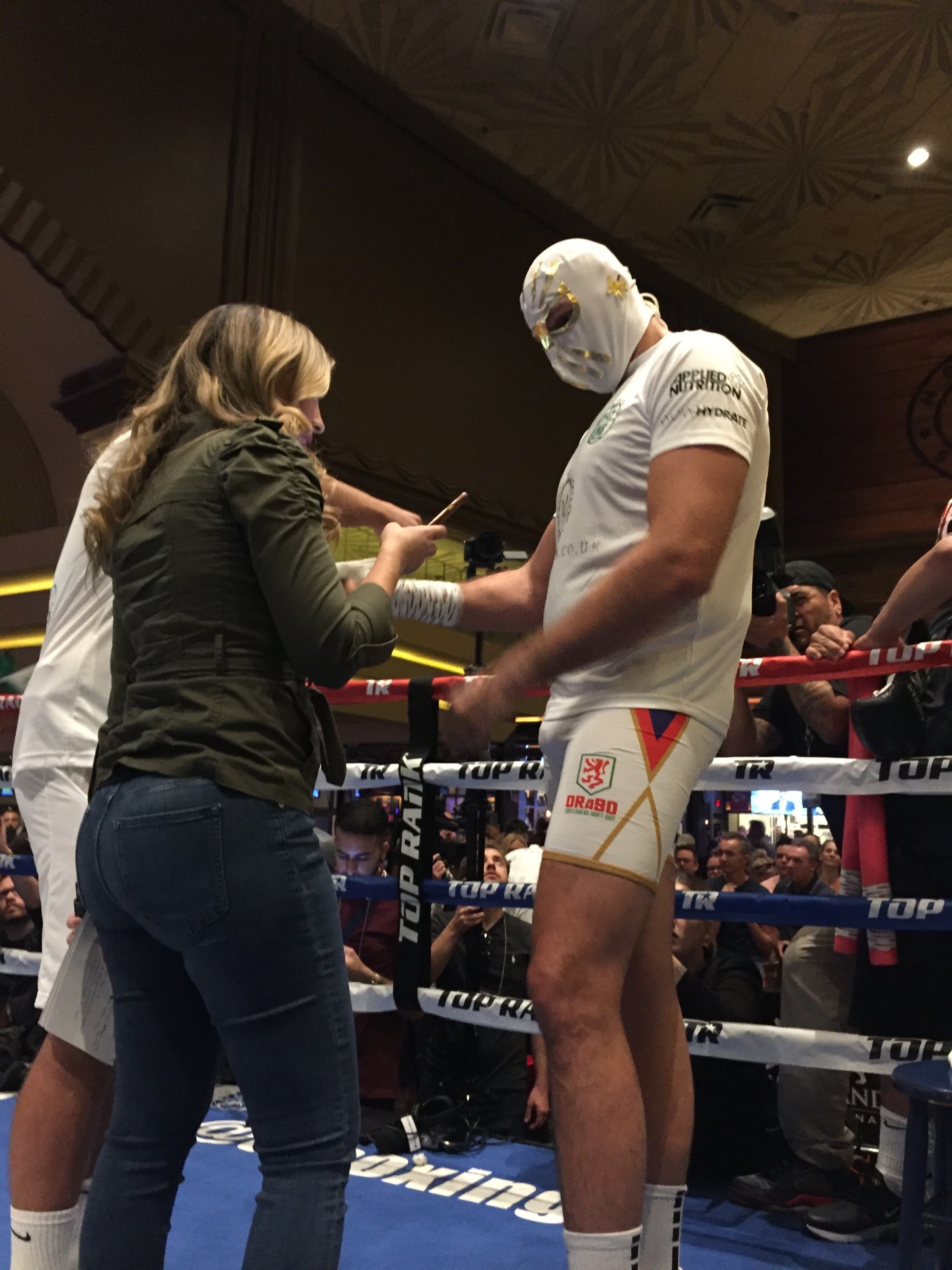 Tyson Fury in a Mexican wrestler's mask at his workout at the MGM Grand in Las Vegas ahead of a fight against Otto Wallin