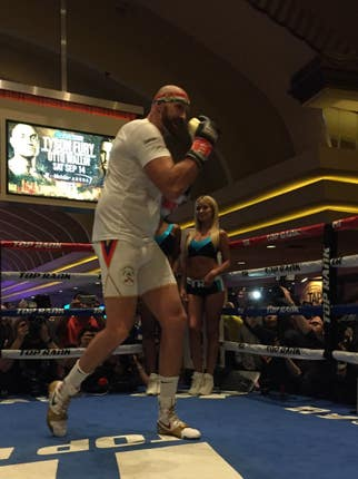 Tyson Fury during his public workout at the MGM Grand in Las Vegas ahead of his fight with Otto Wallin