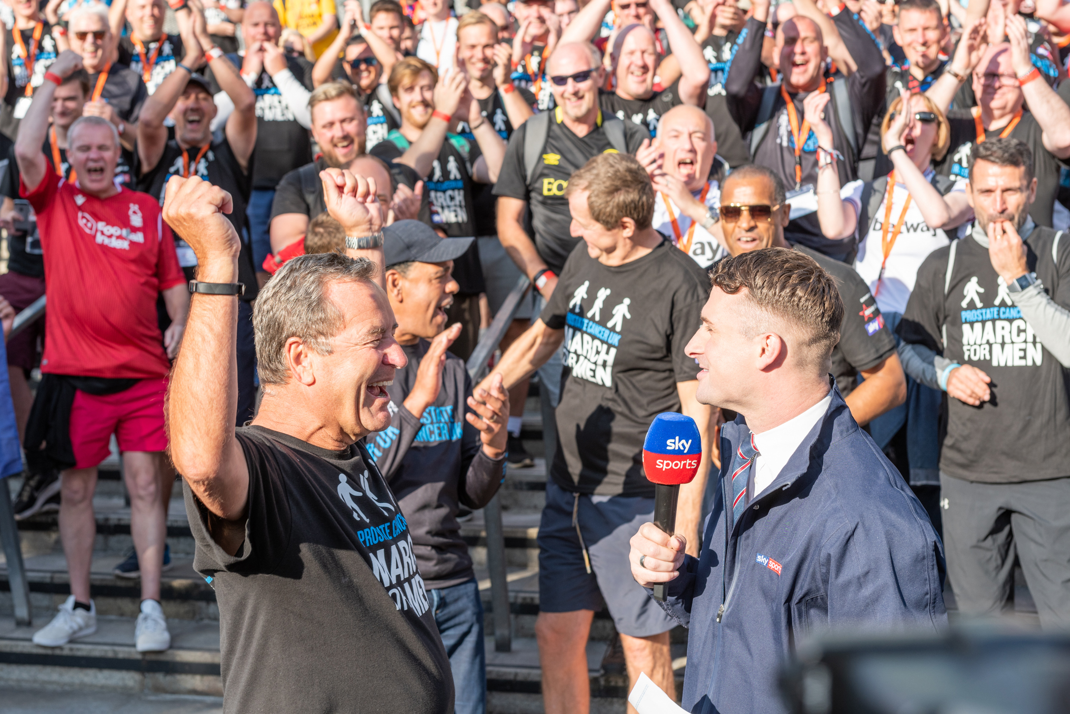 Jeff Stelling celebrates a fundraising goal for Prostate Cancer UK