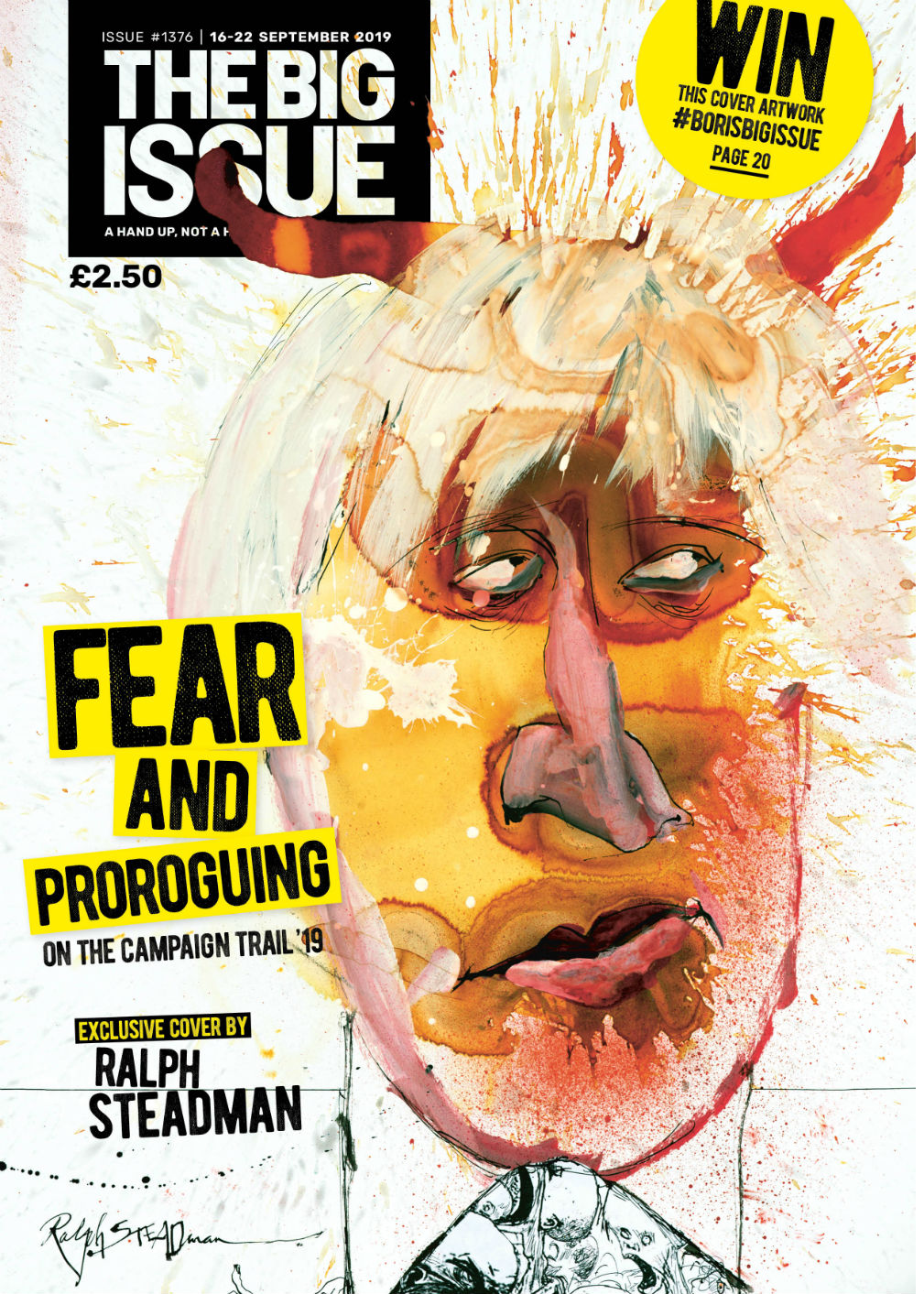 Front cover of The Big Issue featuring the Johnson portrait