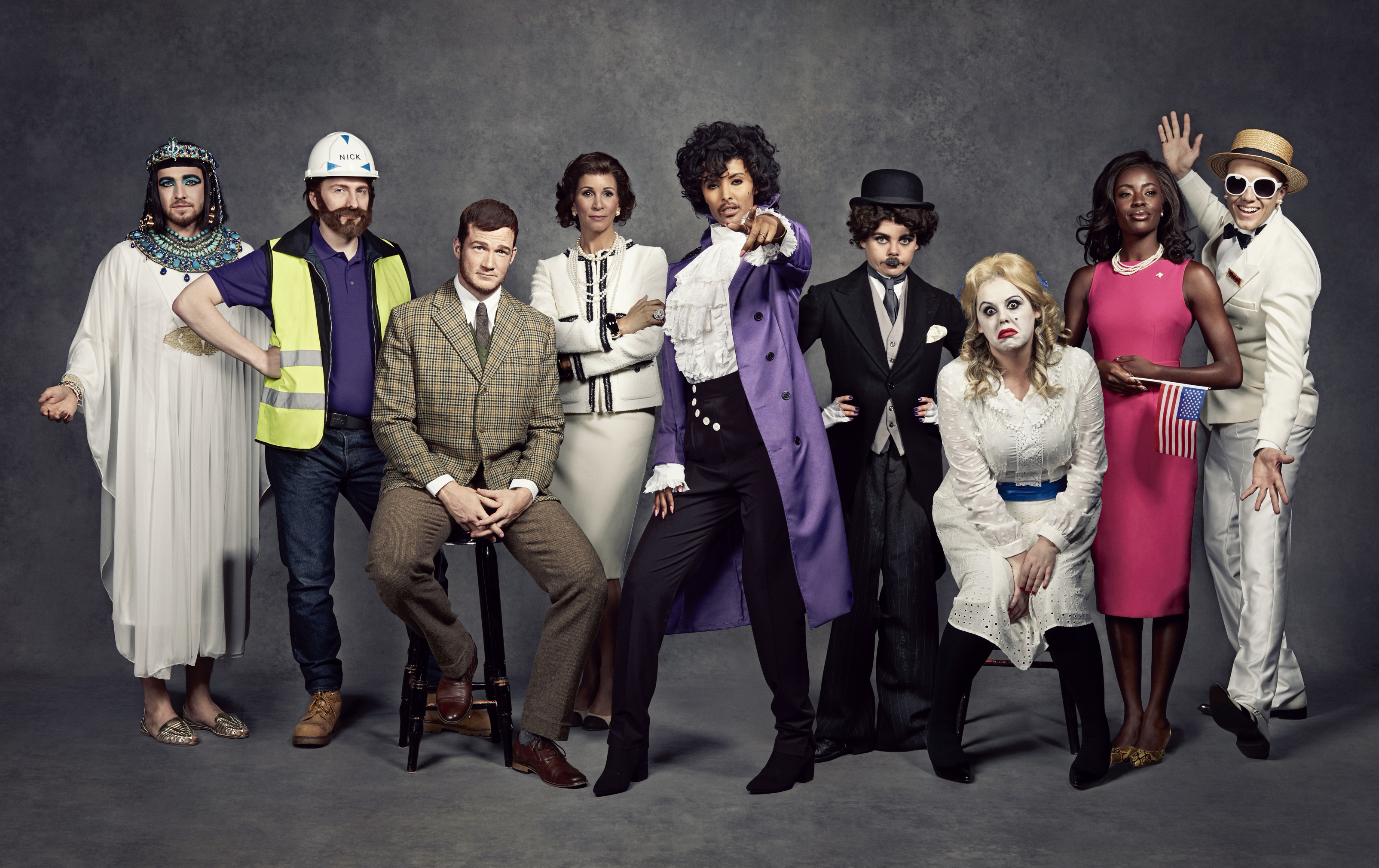 Sam Thompson, Joe Lycett, Greg Rutherford, Andrea McLean, Maya Jama, Saoirse-Monica Jackson, Roisin Conaty, AJ Odudu and Roman Kemp dressed up as trailblazers for Stand Up To Cancer