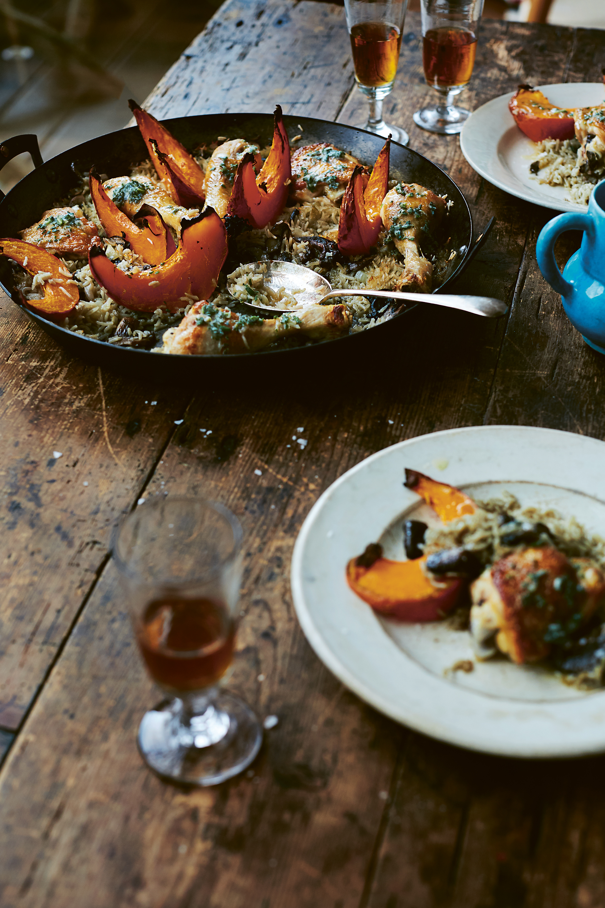 Chicken with wild mushrooms, pumpkin, rice and sage butter - From the Oven to the Table: Simple dishes that look after themselves by Diana Henry (Mitchell Beazley/Laura Edwards/PA)