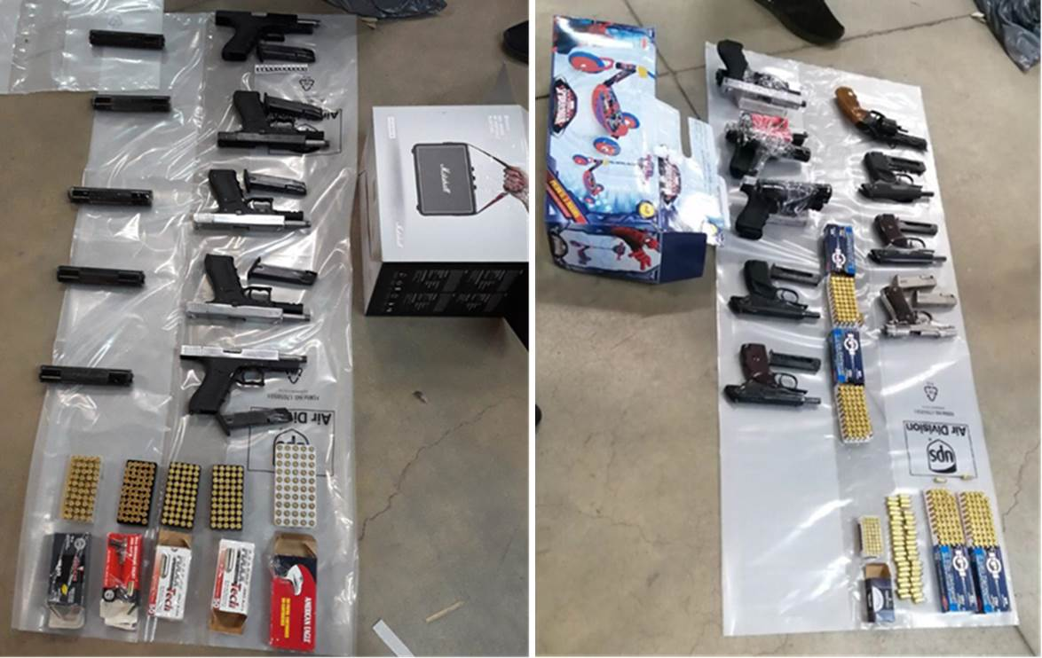 Guns seized by police.