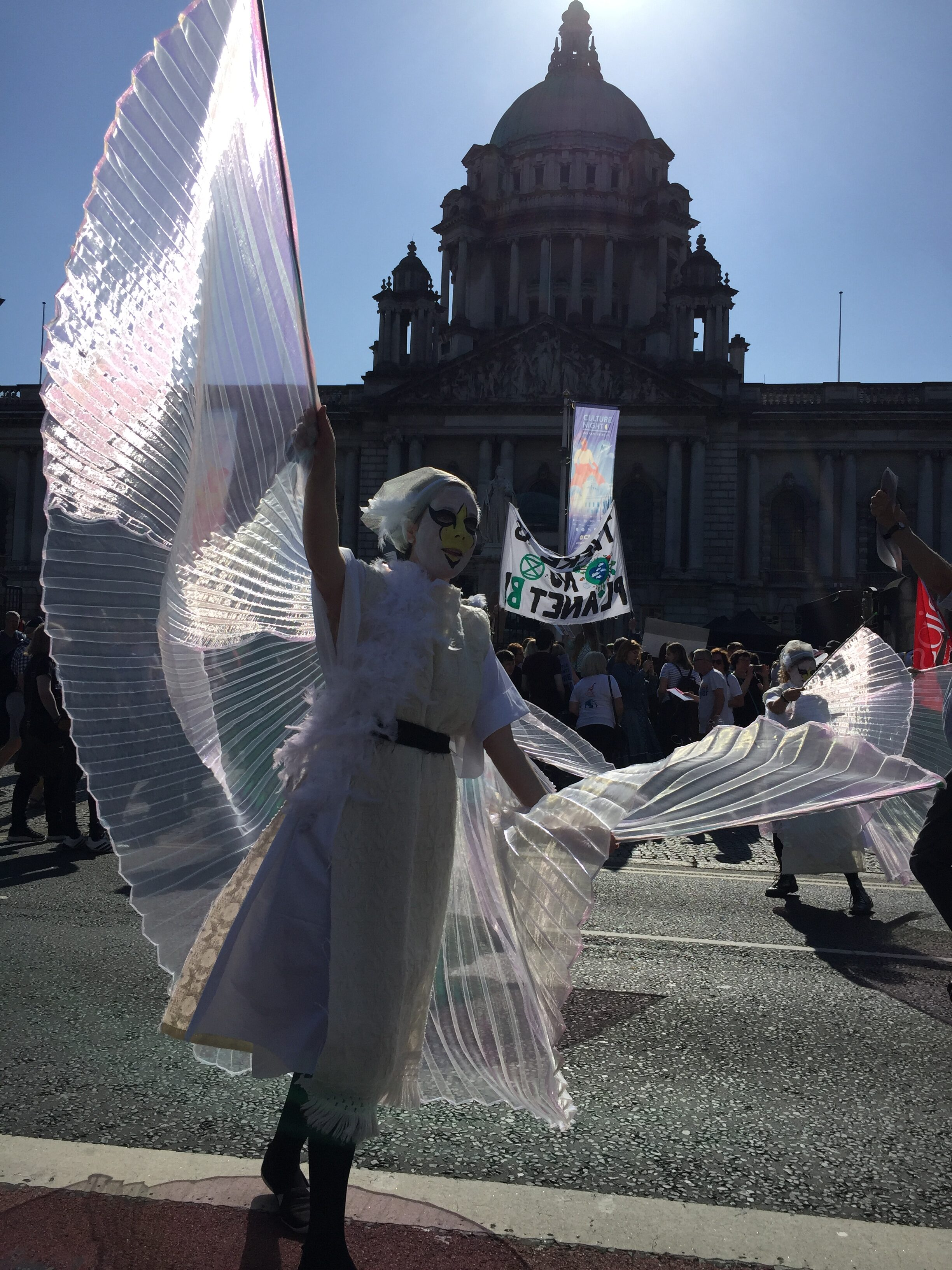 An activist dressed as a swan dances in front of City Hall