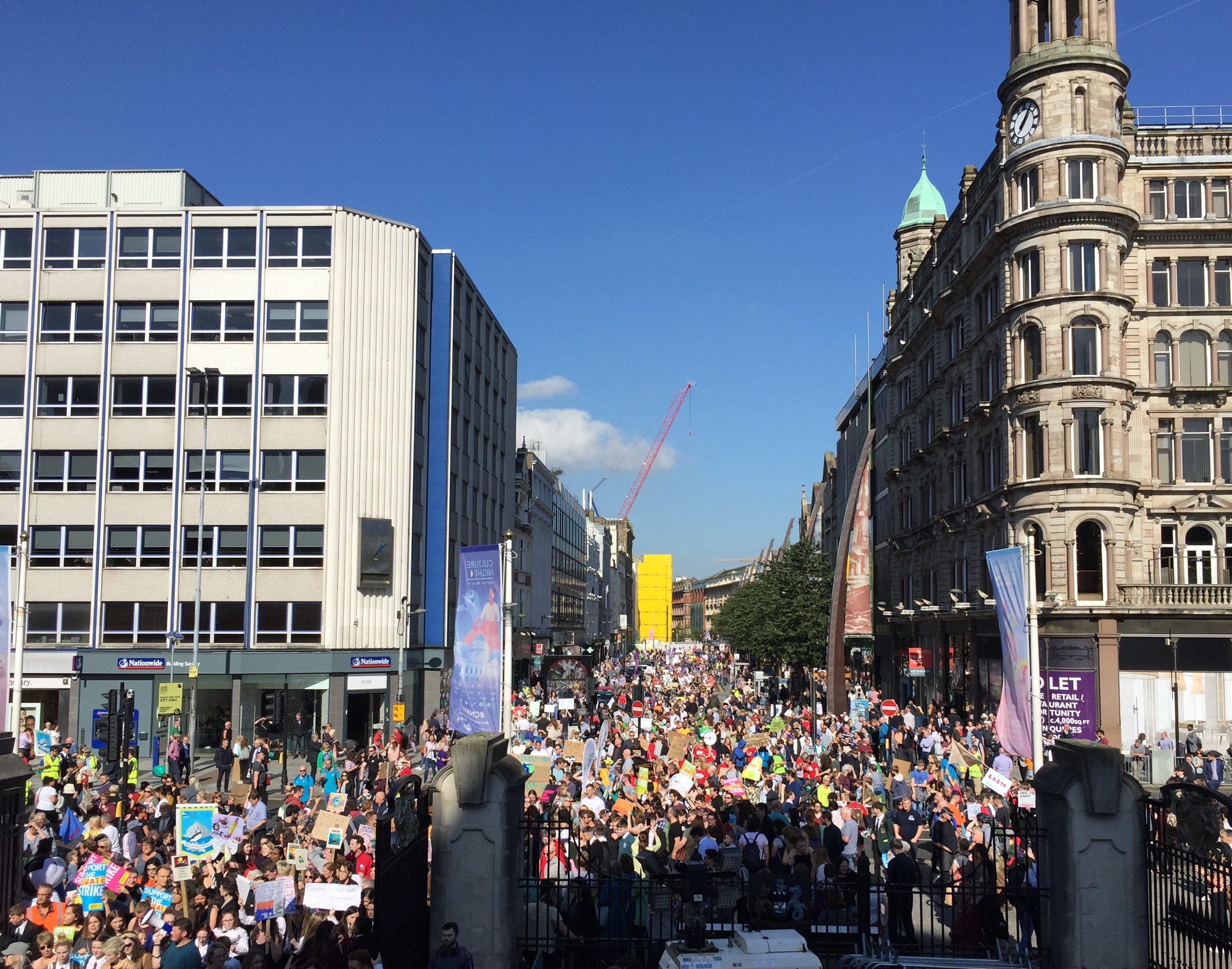 Huge crowds descended on City Hall in Belfast for the Climate Strike rally