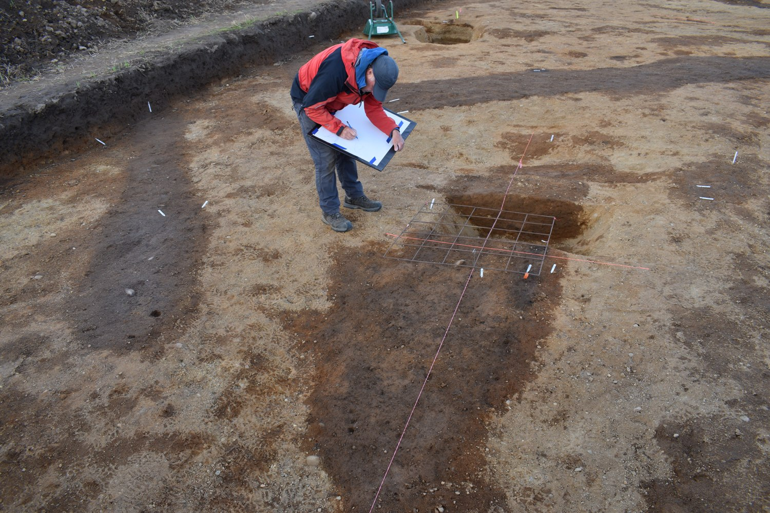 Work in the trench where burial was found