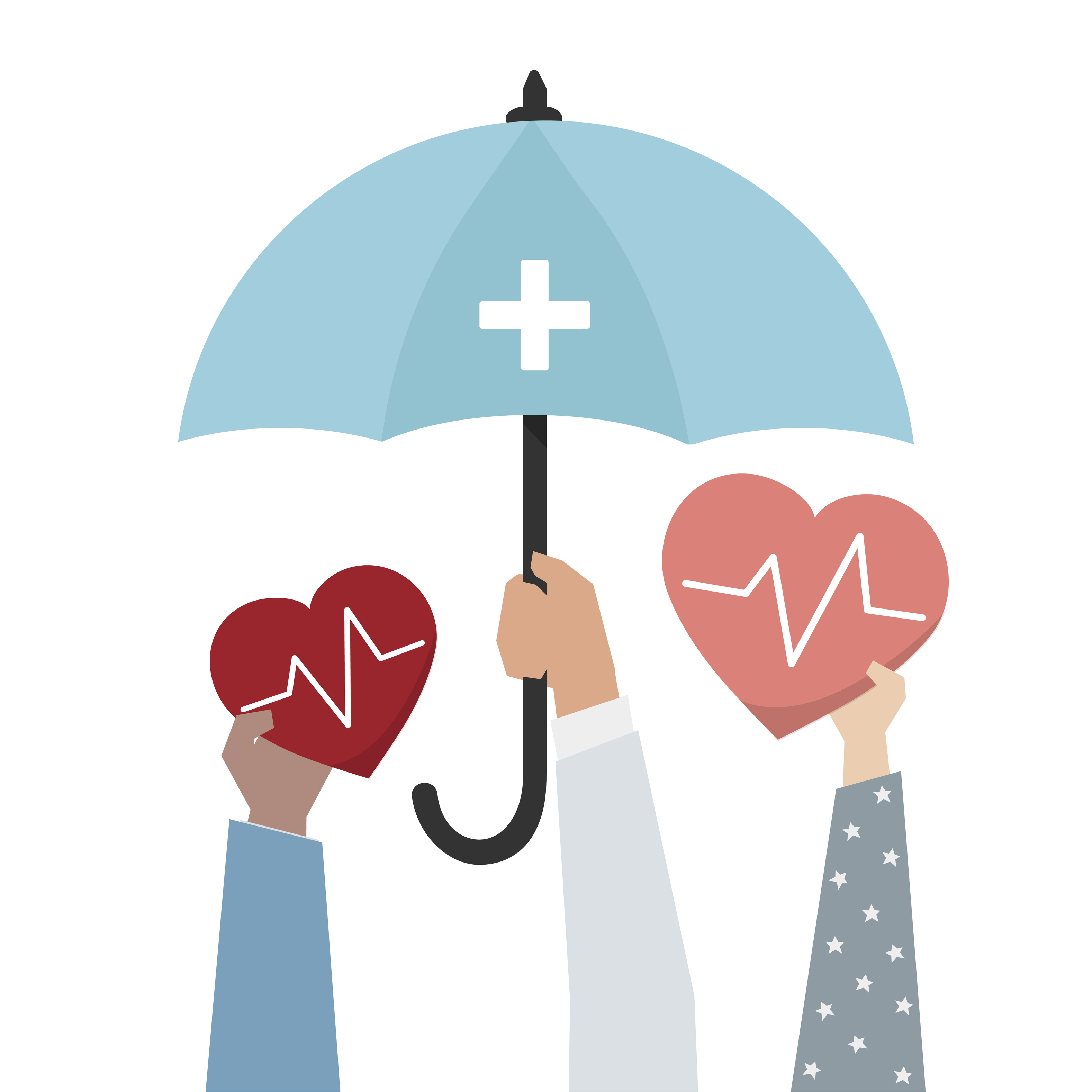 illustration of hearts under an umbrella
