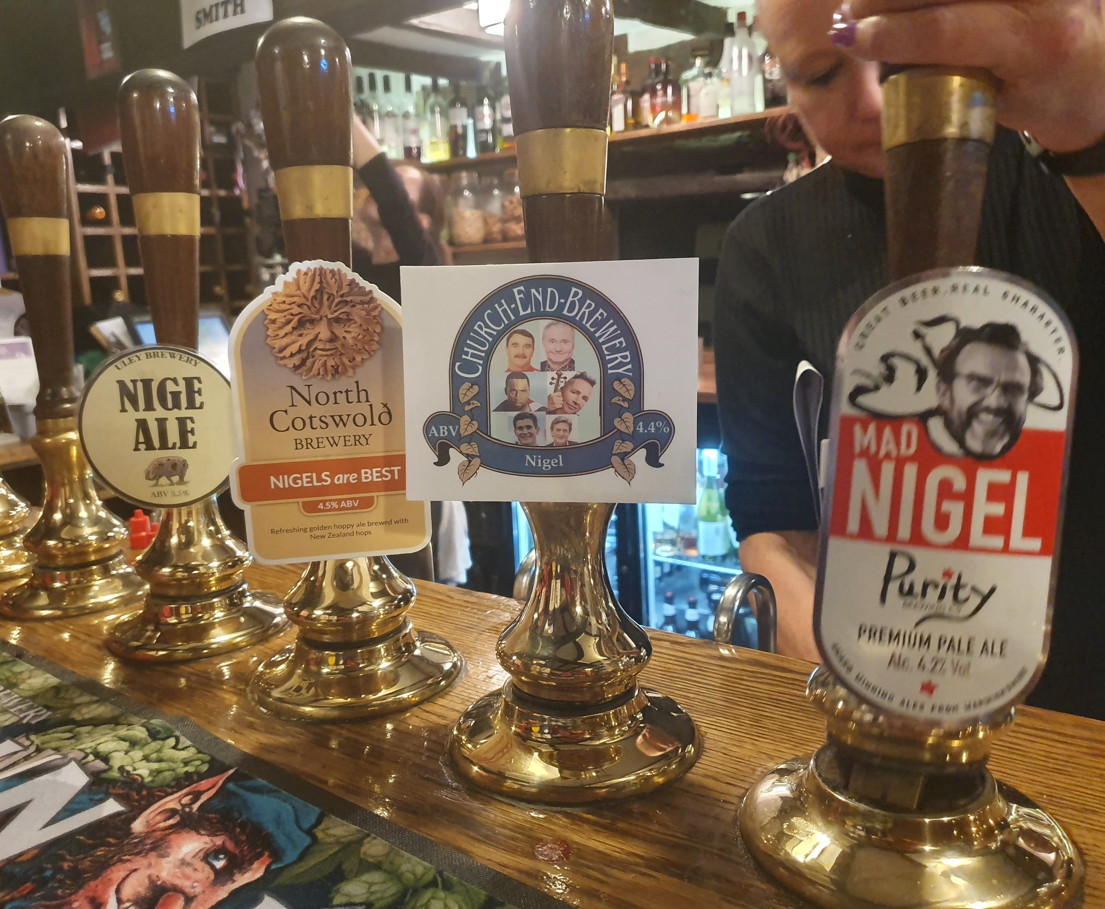Nigel-themed beers at the Fleece Inn