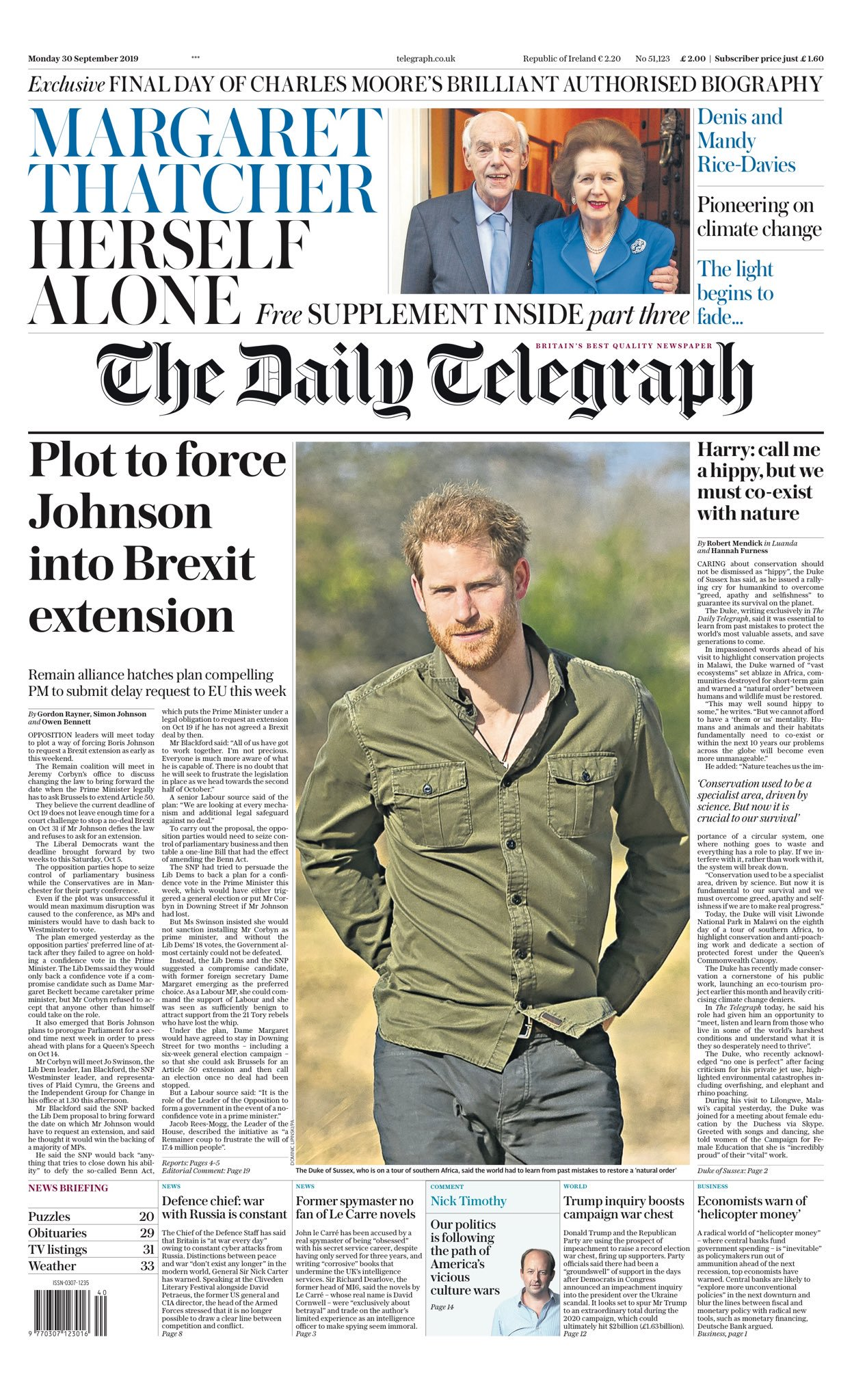 The front page of Monday's Telegraph (Daily Telegraph)