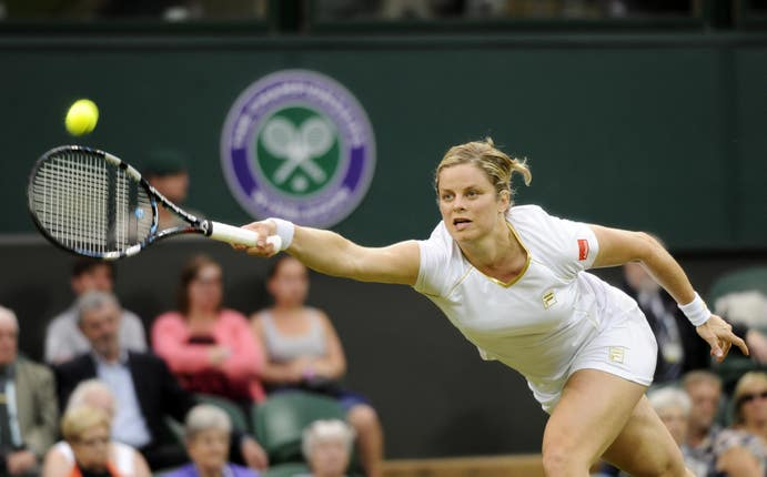 Belgium's Kim Clijsters in action against Czech Republic's Andrea Hlavackova during day three of the 2012 Wimbledon Championships