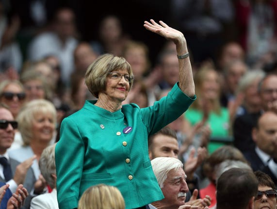 Margaret Court on day six of the Wimbledon Championships at the All England Lawn Tennis and Croquet Club, Wimbledon
