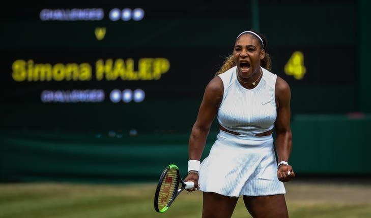 Serena Williams reacts during the women's singles final on day twelve of the Wimbledon Championships at the All England Lawn Tennis and Croquet Club, Wimbledo