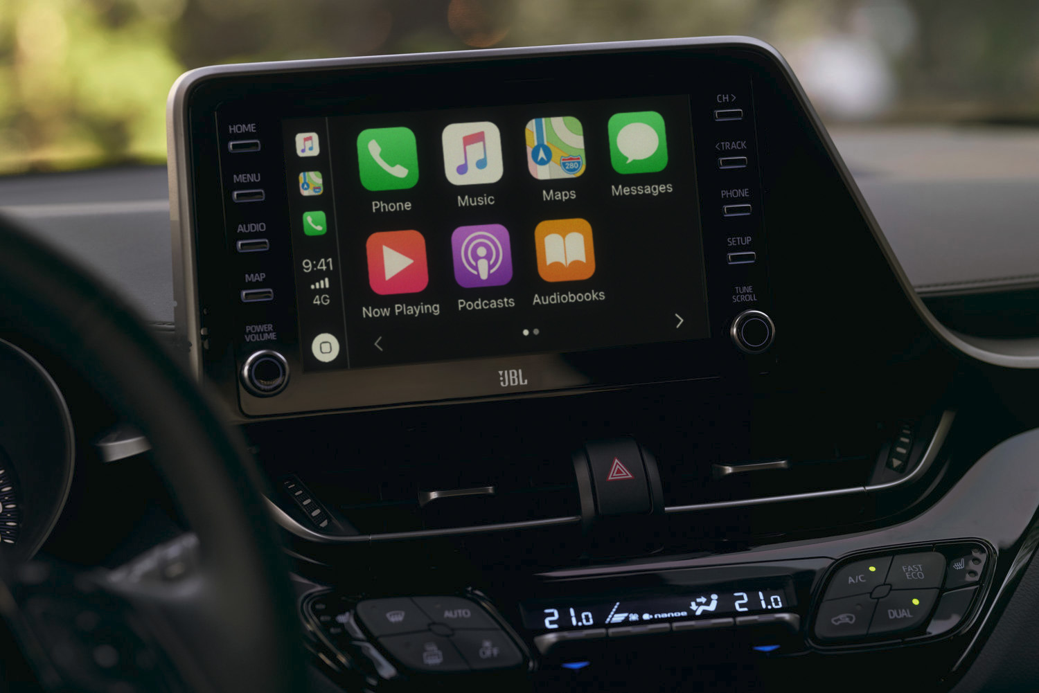 Apple CarPlay and Android Auto are included in the infotainment setup