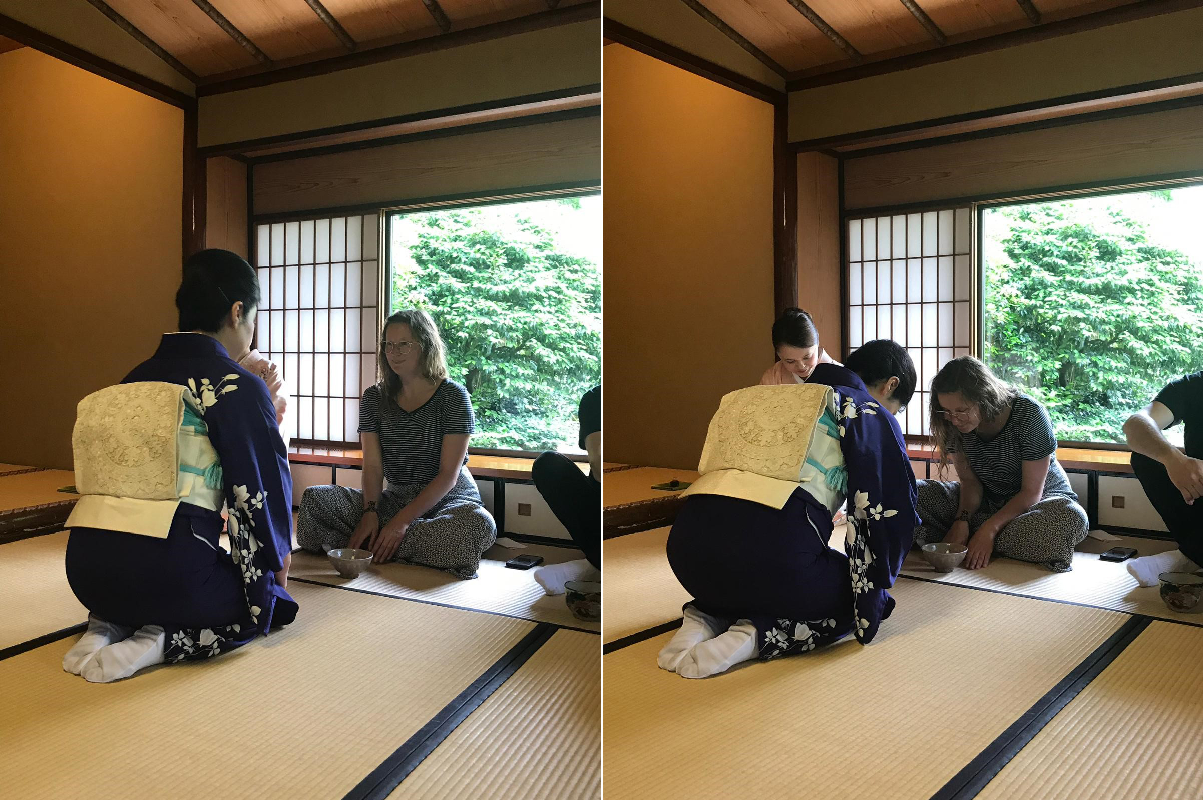 Ella during the tea ceremony at Hotel Chinzansano (Ella Walker/PA)