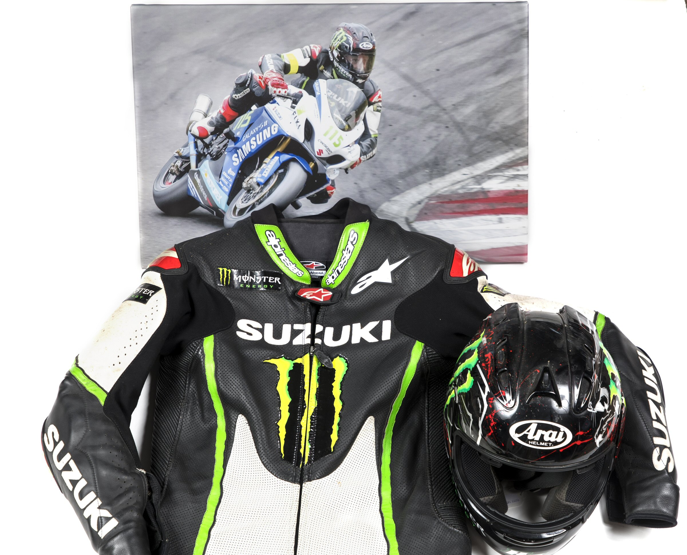 Keith Flint's motorcycle leathers and helmet, which will be sold at auction. (Cheffins/ PA)