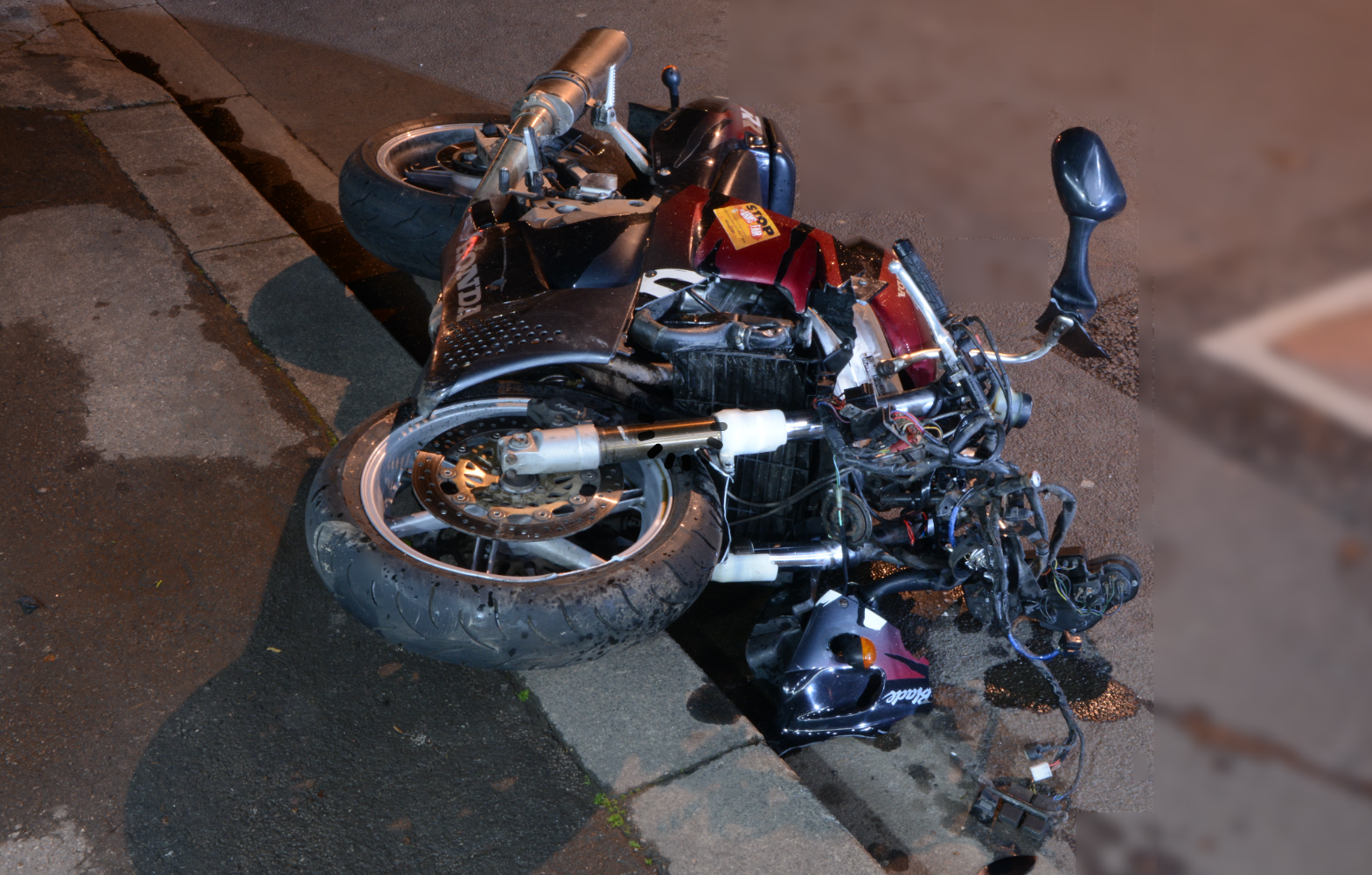 The motorbike ridden by Mr Rice, pictured after the collision (Avon and Somerset Police/PA)