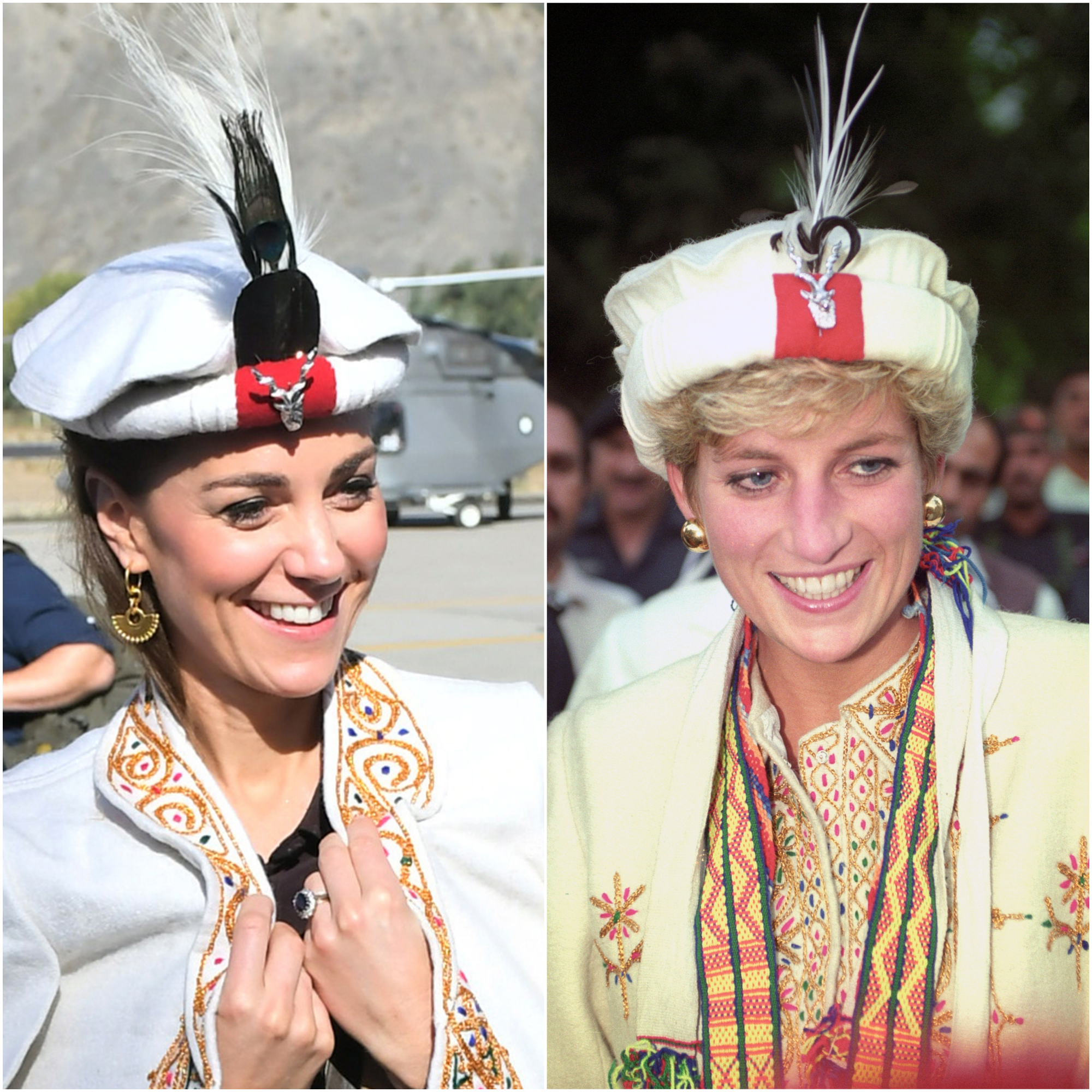 Kate and Diana, pictured in 1991, in similar hats during visits to Chitral (Sam Husssein/Martin Keene/PA)