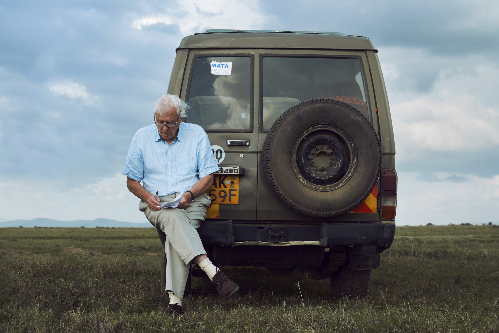 Sir David Attenborough on location while filming Seven Worlds, One Planet