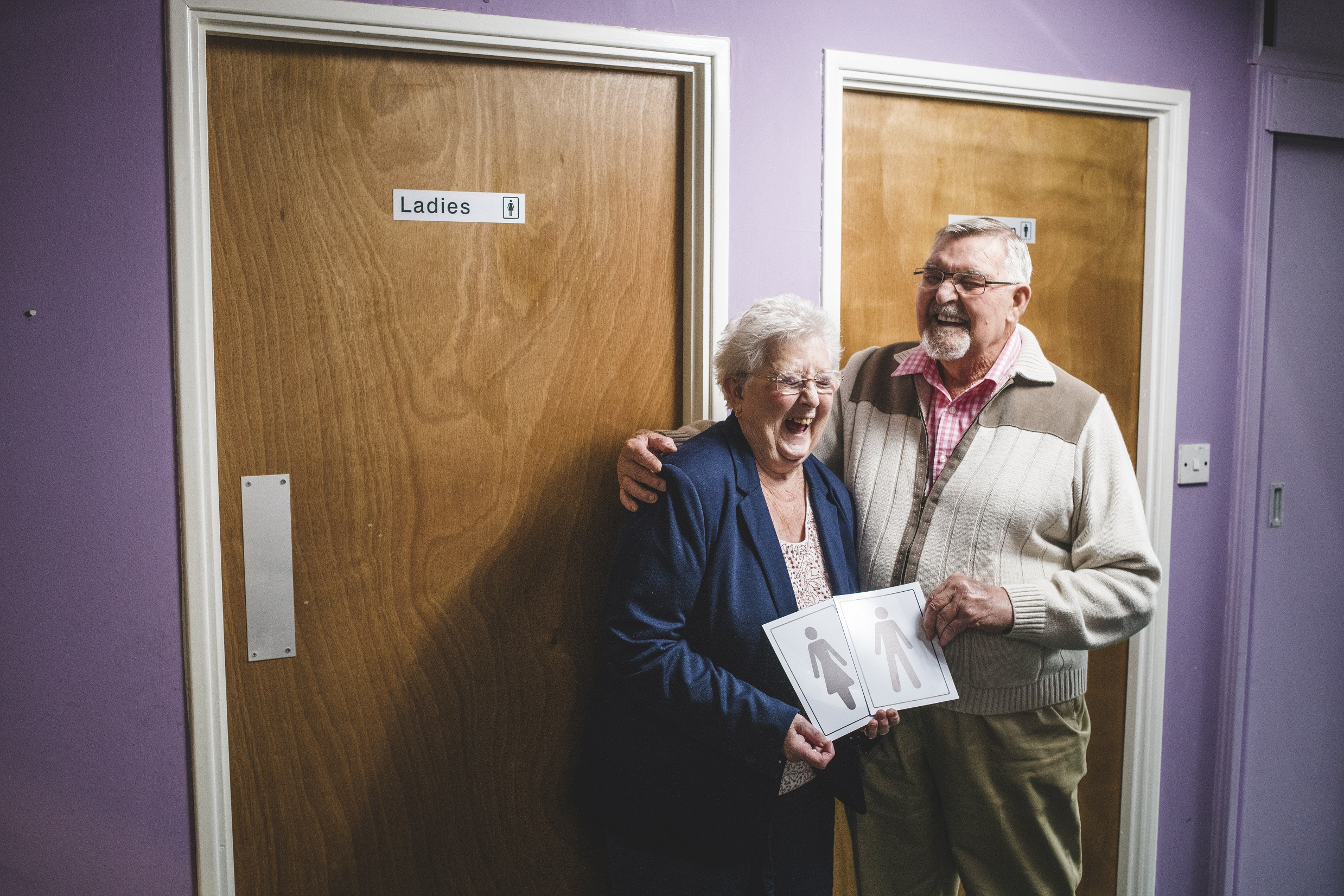 Dennis and Shirley Banfield paid for new toilets at their local community centre in Winterbourne, Bristol (Camelot/PA)