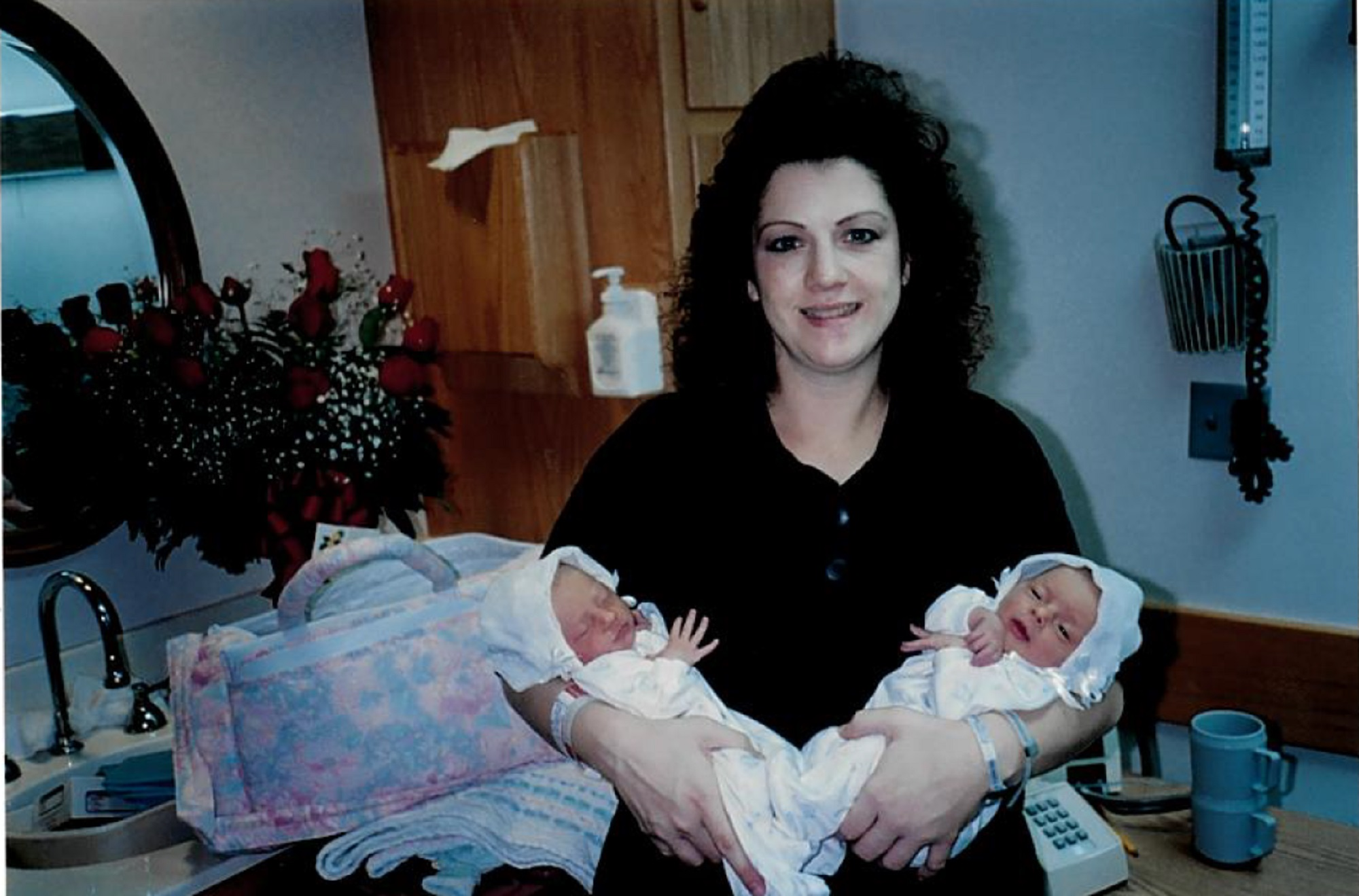 The twin nurses when they were born 26 years ago