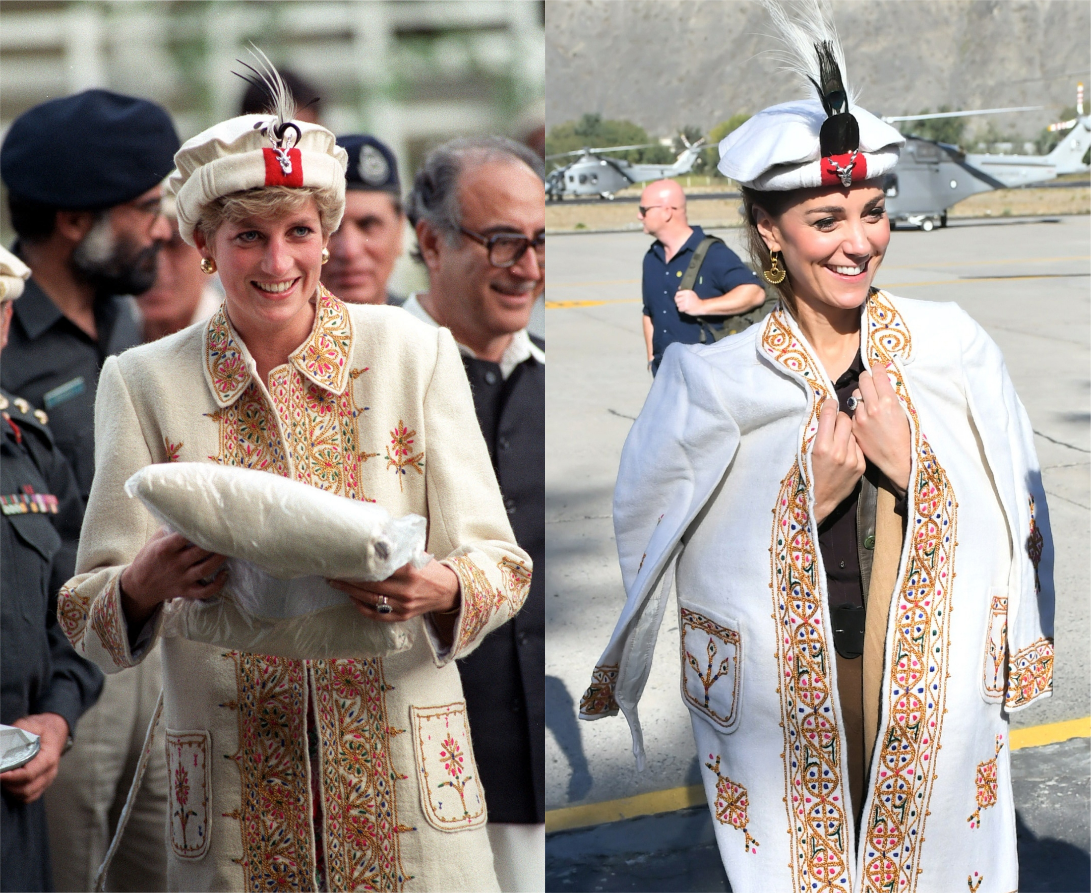 Diana wears a traditional hat and jacket in 1991 and Kate does the same in 2019