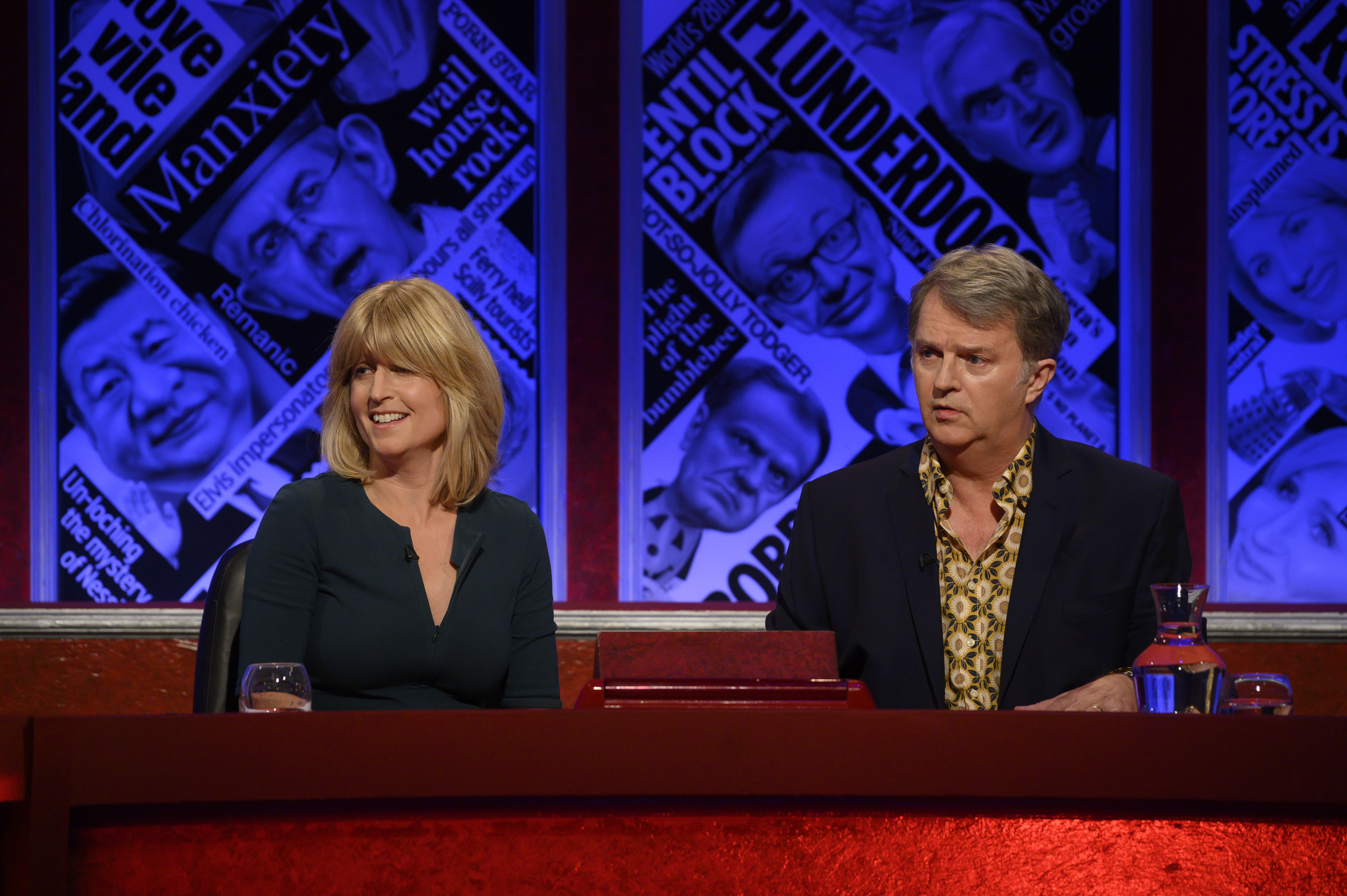 Rachel Johnson alongside Paul Merton on Have I Got News For You