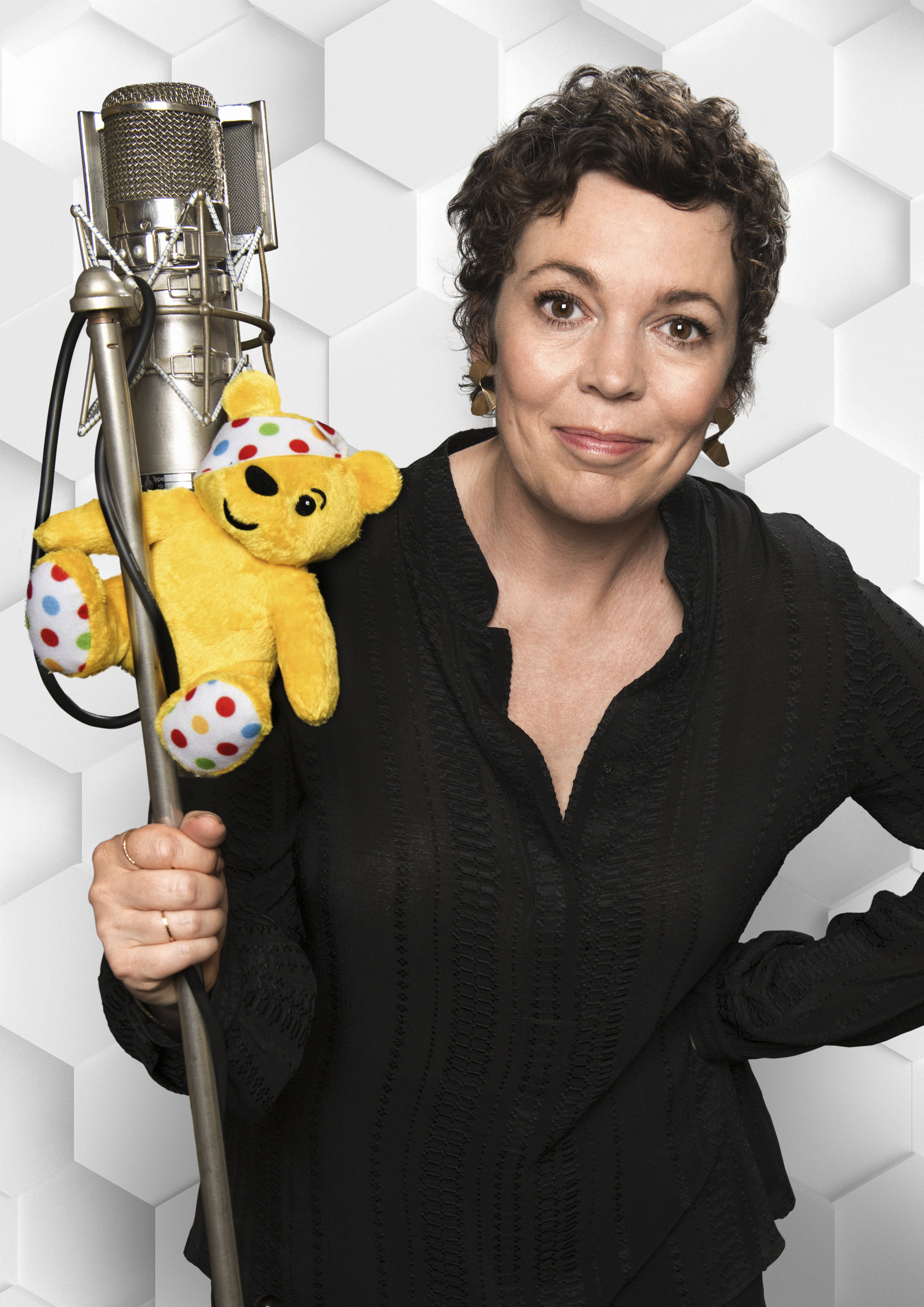 Olivia Colman with Pudsey