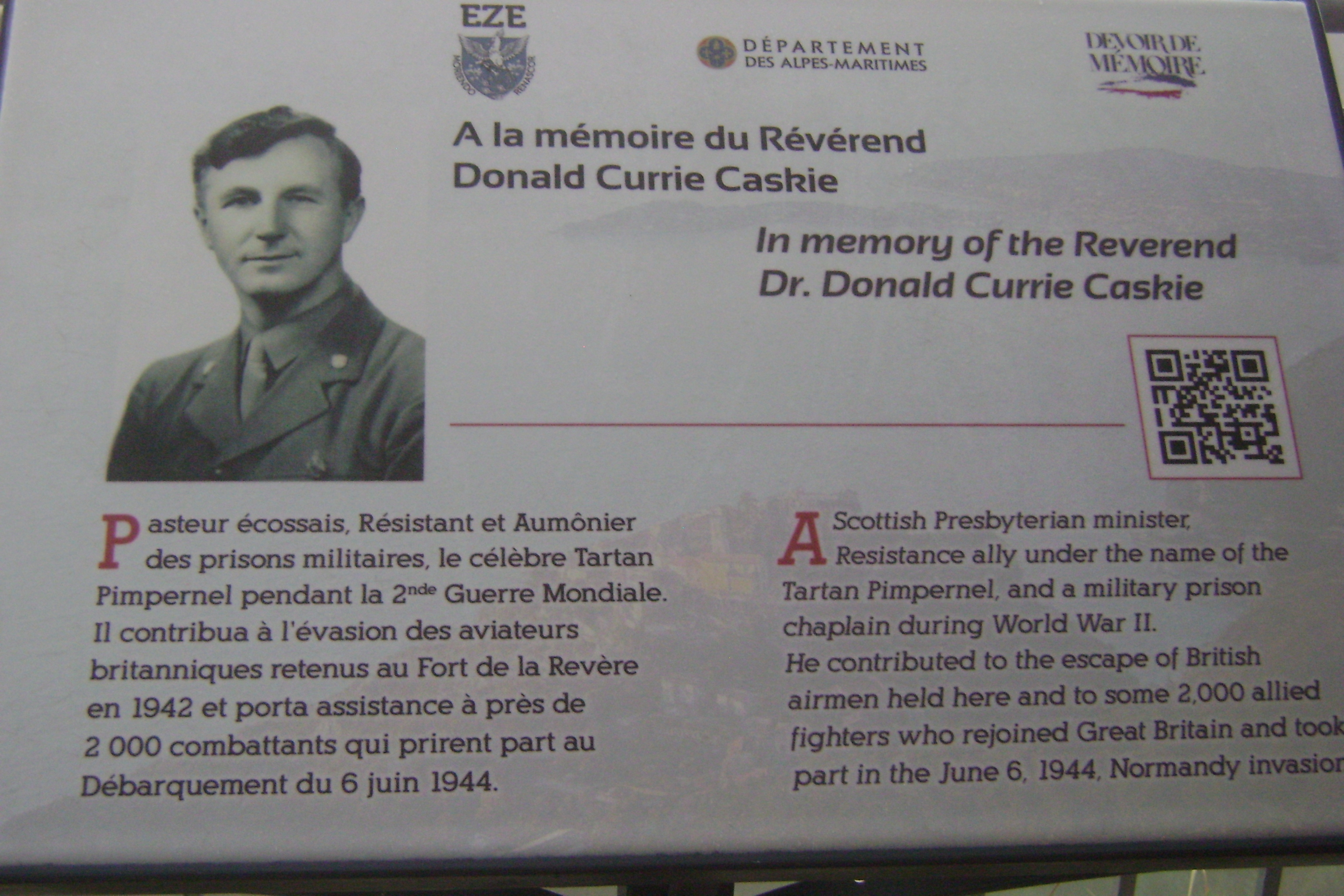 The Dr Donald Caskie memorial in France