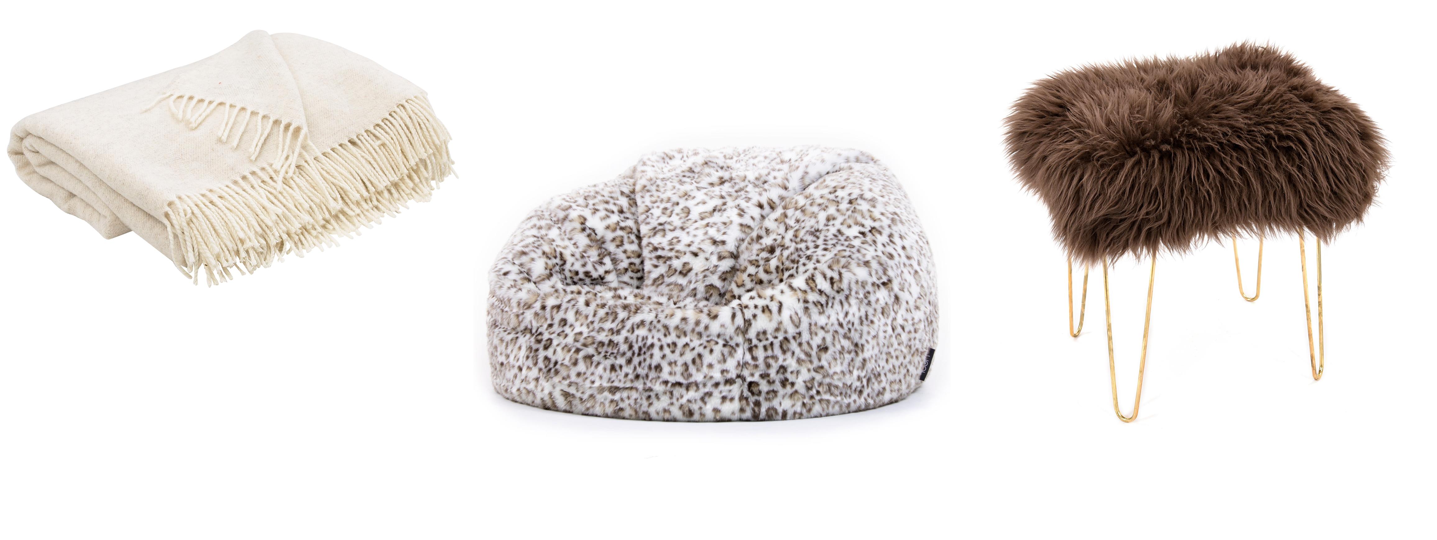 (L-R) Super Soft Merion Throw, Lime White, £132, Tolly McRae; ICON Siberia Faux Fur Bean Bag, Snow Leopard, £99.99, Bean Bag Bazaar; Joan Baa Sheepskin Dressing Table Stool, Brown, £265, Limelace (Tolly McRae/Bean Bag Bazaar/Limelace/PA)