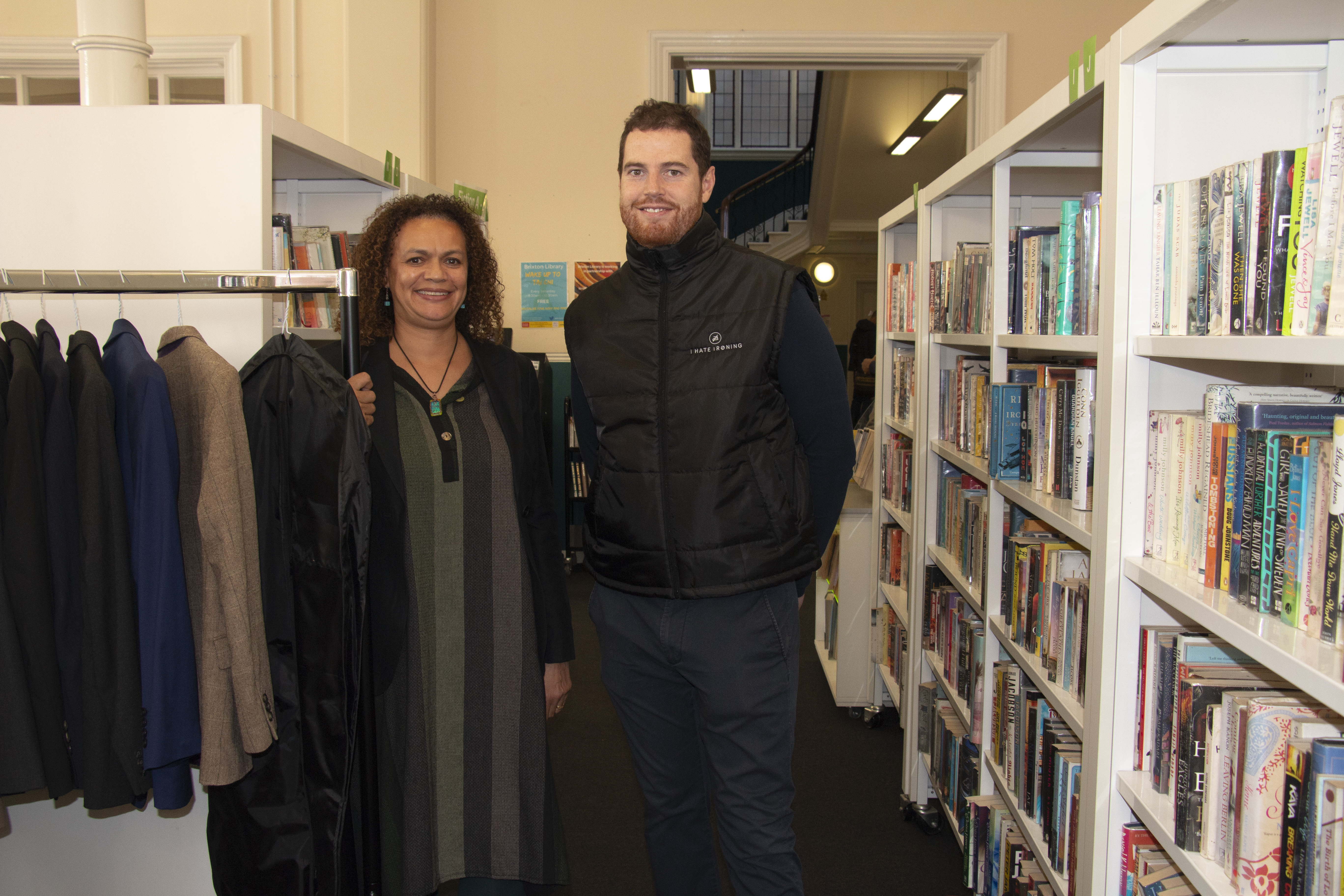 Abibat Olulode from Brixton Library and Matt Connelly of ihateironing with some of the clothes available