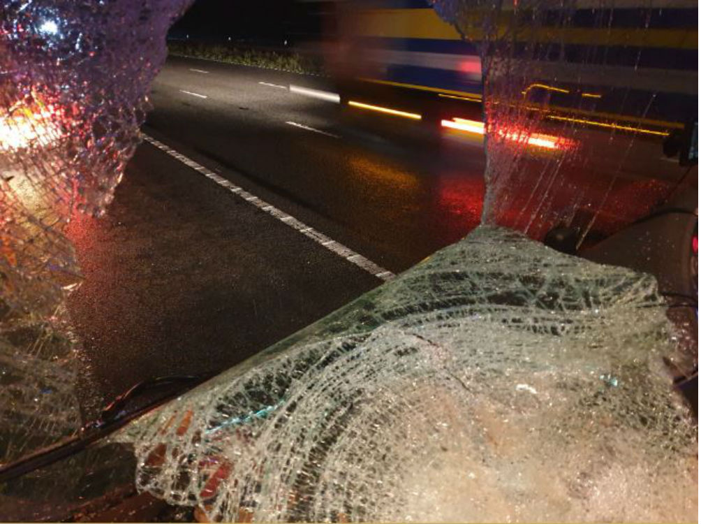 The smashed lorry window