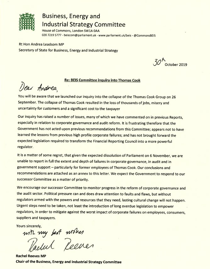 Letter to BEIS from BEIS committee