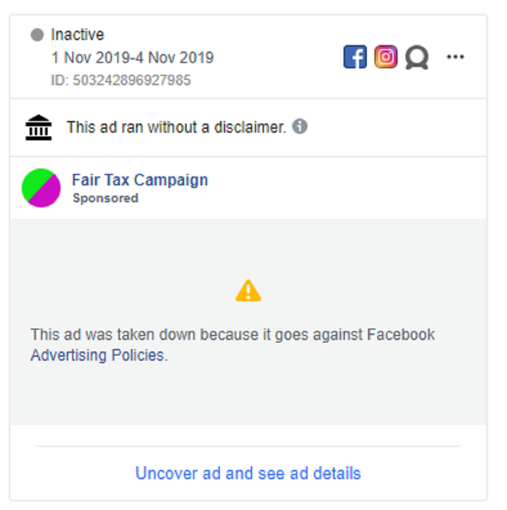 The advert was taken down for contravening Facebook's policies