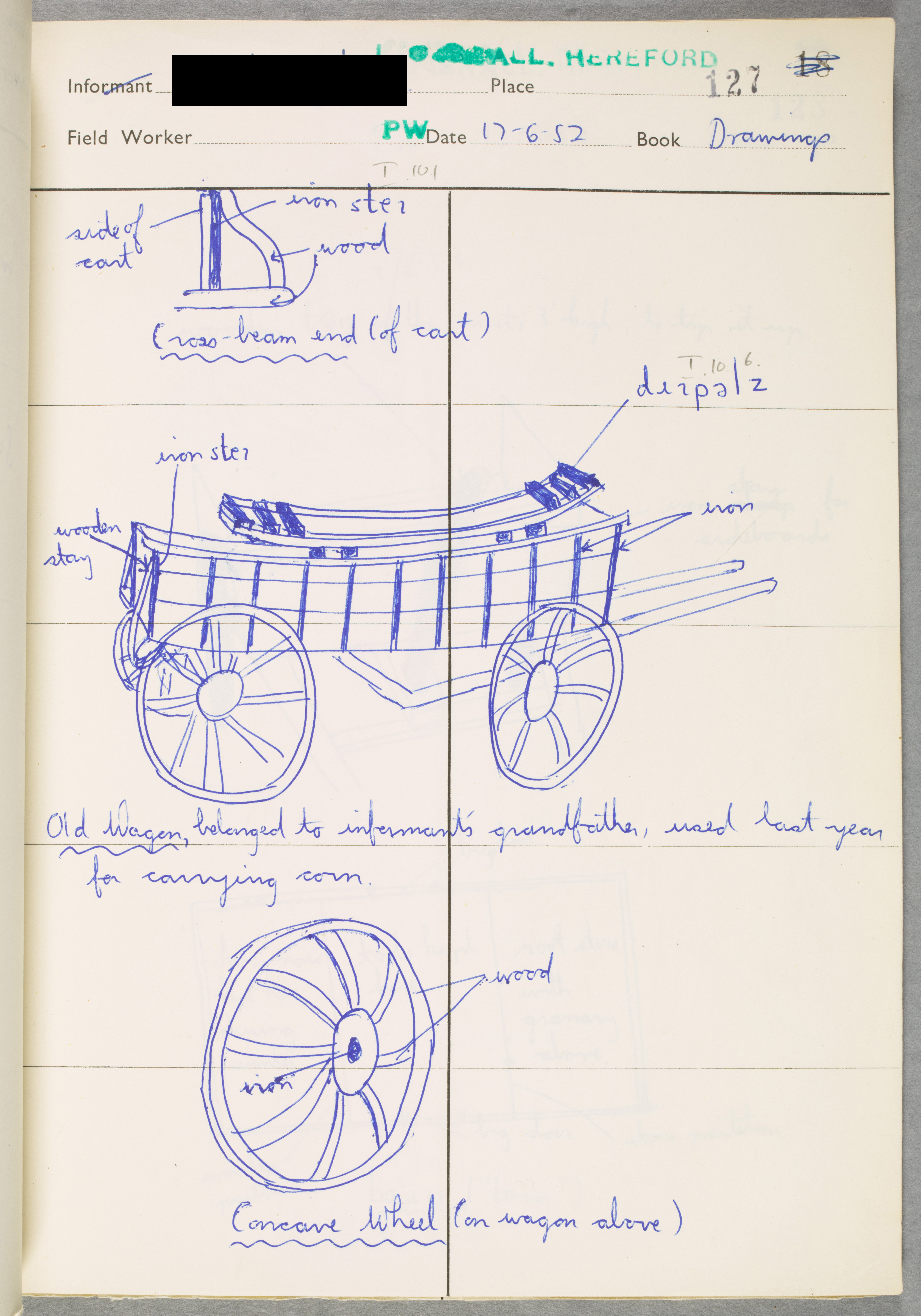 A researcher's drawing of a wagon in a notebook