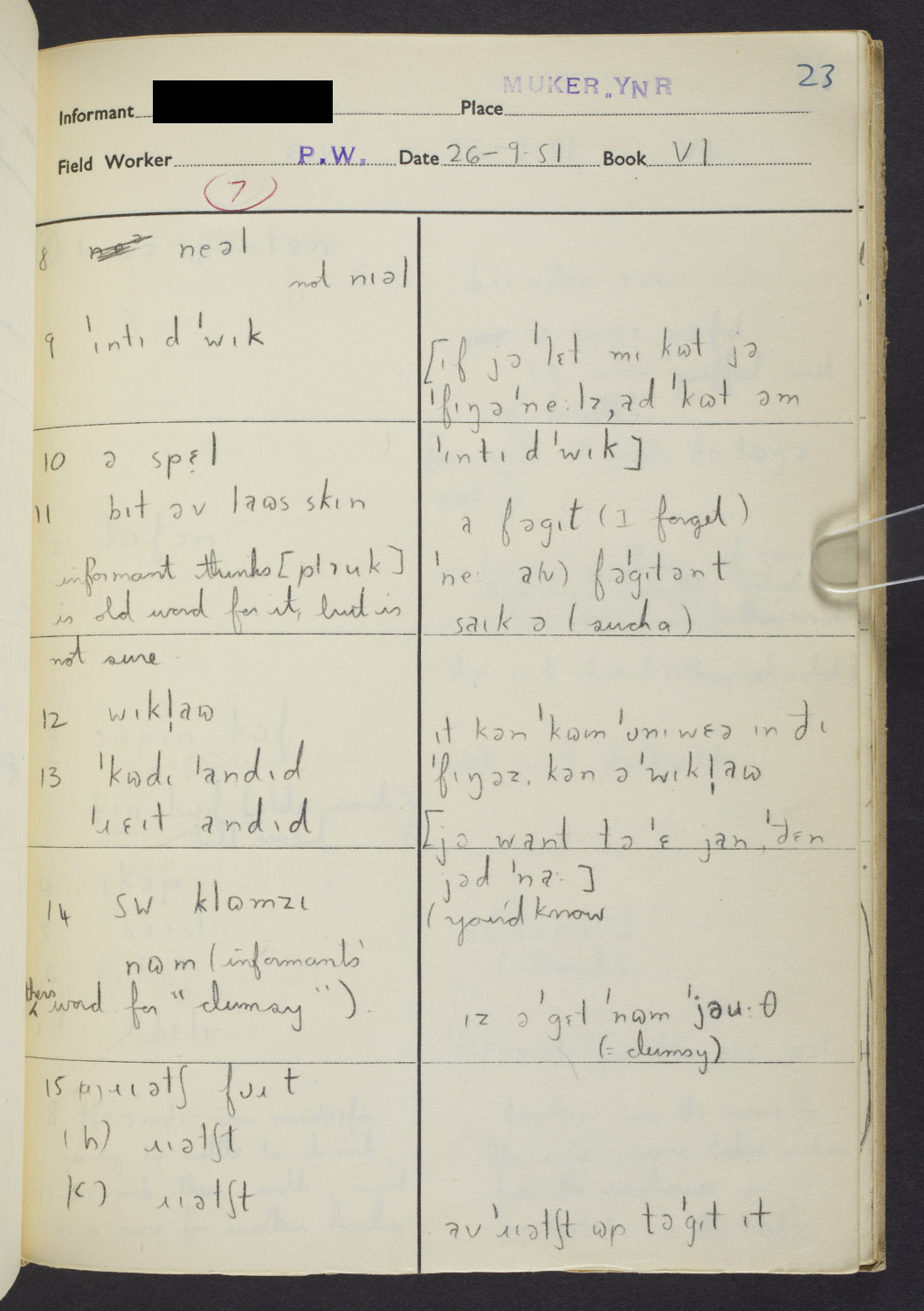 A researcher's notebook showing different words and pronunciation for the word splinter