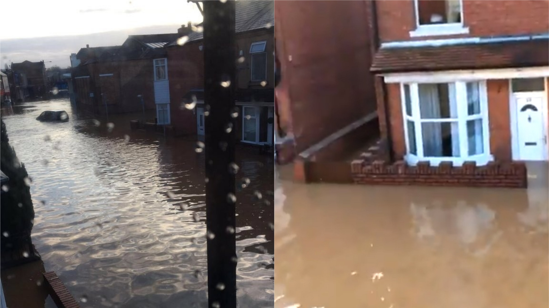 Flood waters on Central Avenue in Worksop