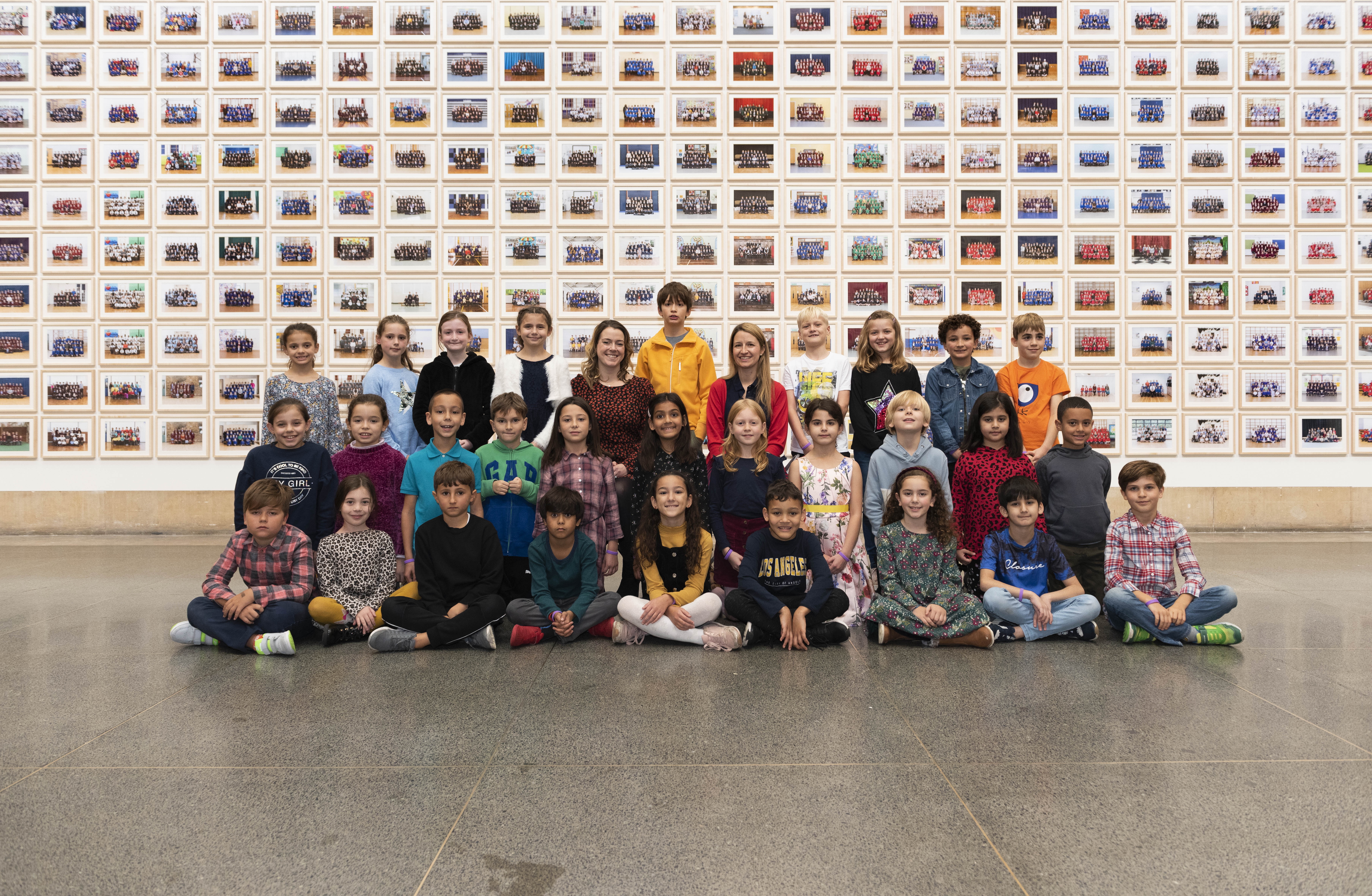 Children with their portraits at Tate Britain