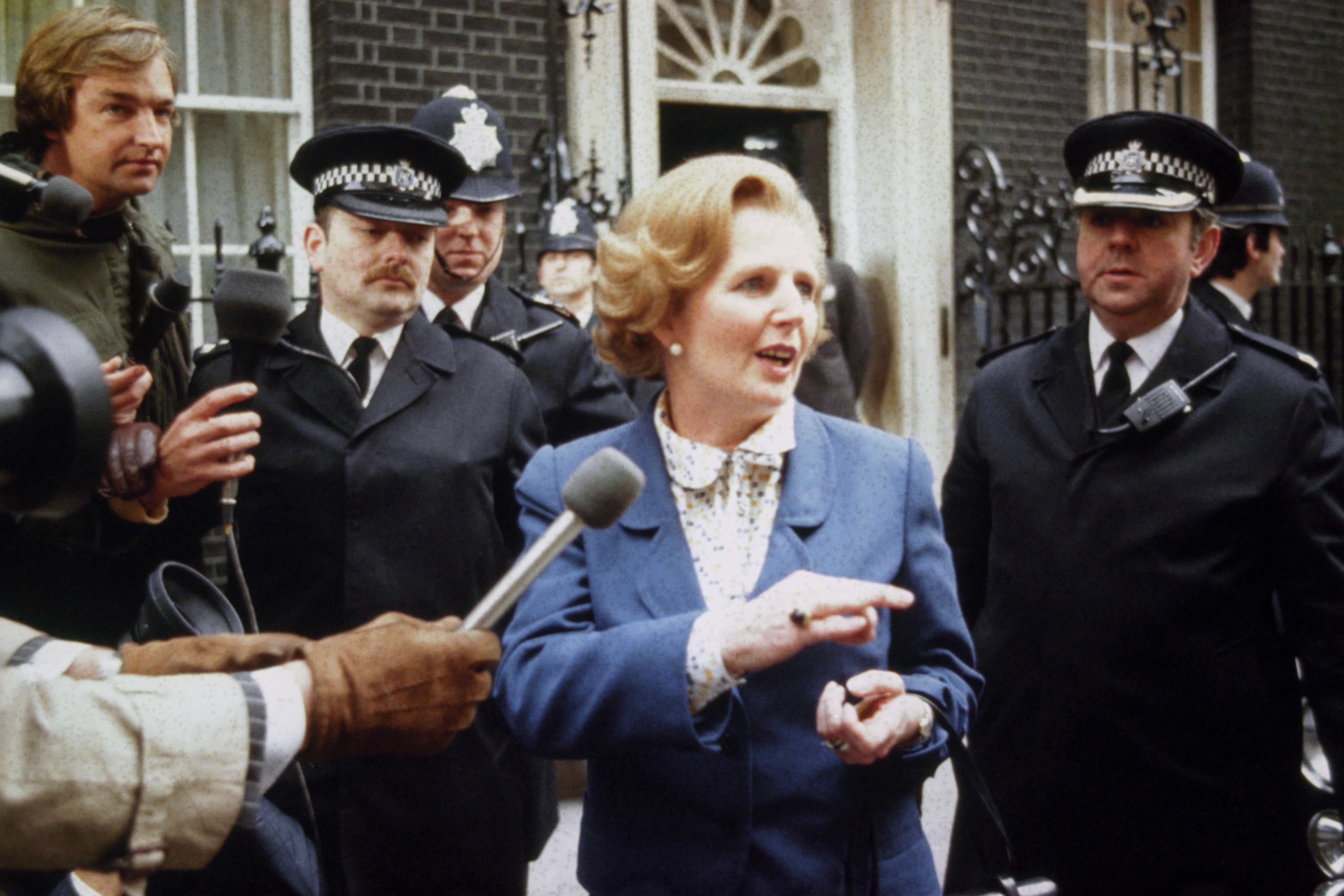 Margaret Thatcher arrives at Downing Street after her election as Britain's first female Prime Minister
